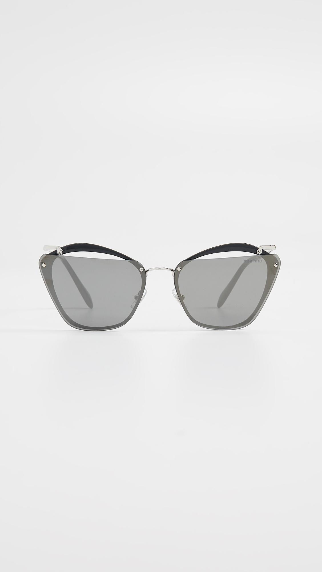 7ebf989e0dc Lyst - Miu Miu Cut Frame Mirrored Sunglasses in Gray