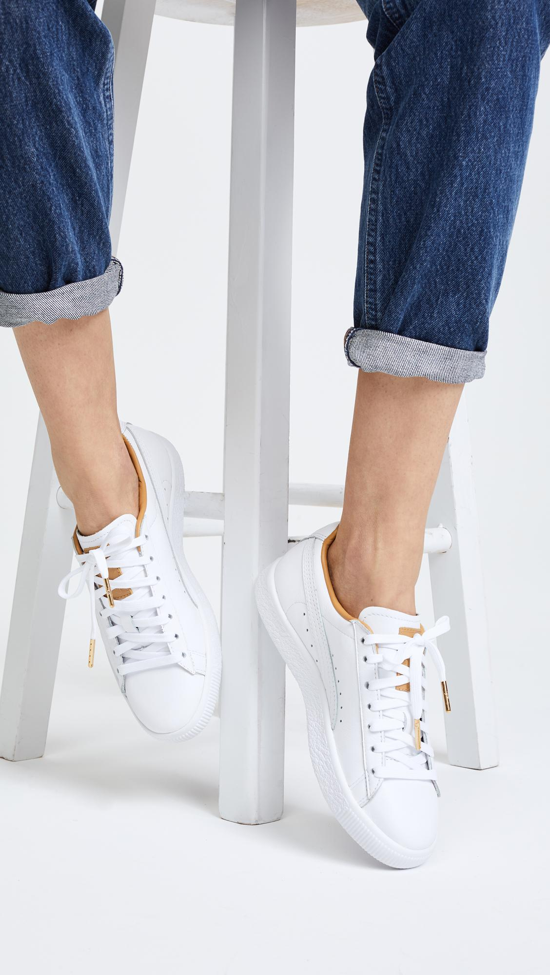 999c2baa36a Lyst - PUMA Clyde Core Leather Sneakers in White