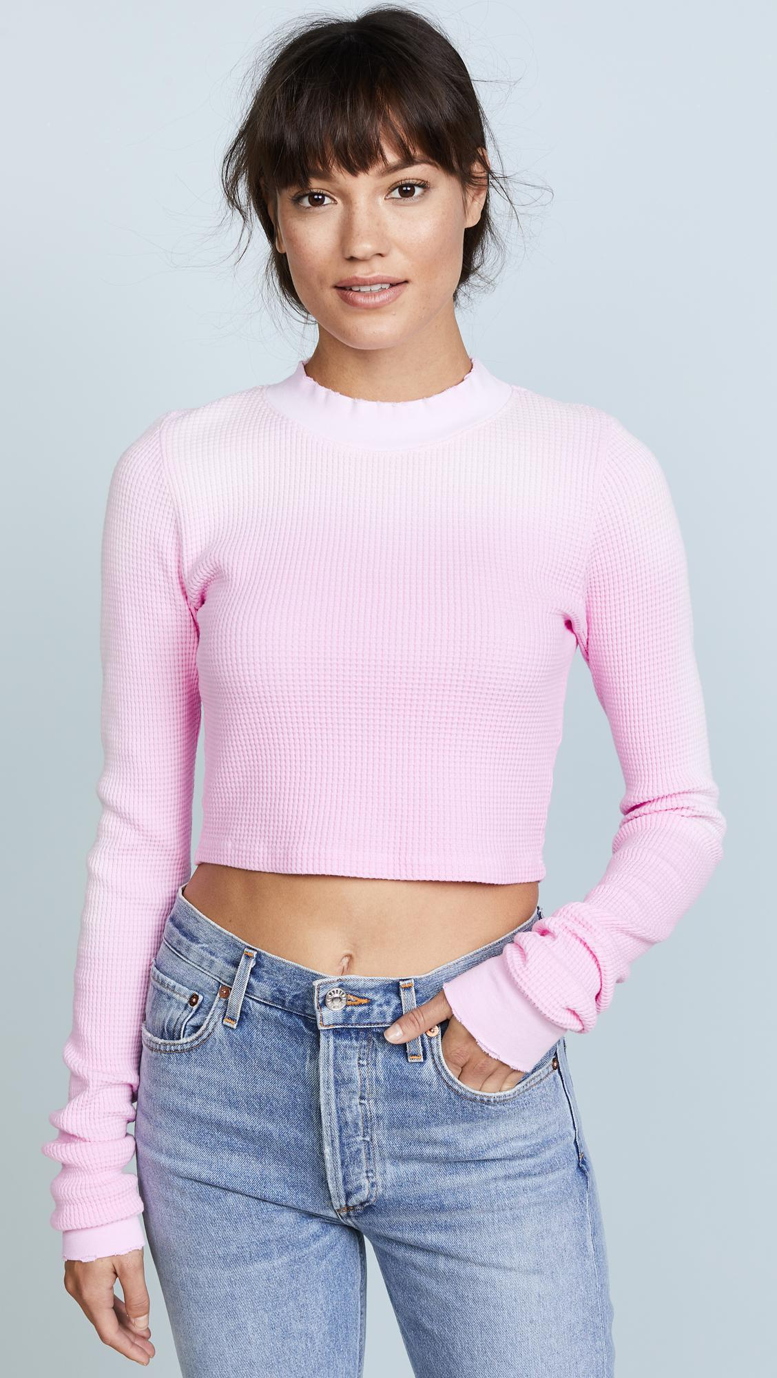 721fa20e2301 Cotton Citizen The Monaco Crop Long Sleeve Thermal in Pink - Lyst