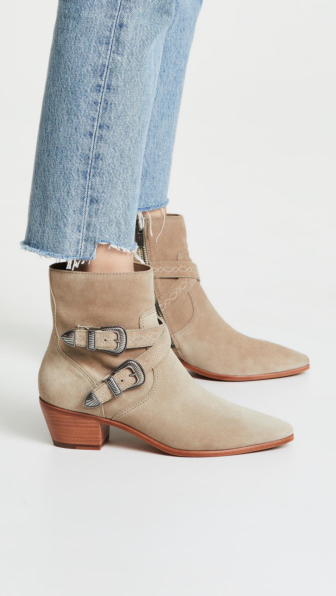ea7df2989fdd Lyst - Frye Ellen Buckle Short Boots
