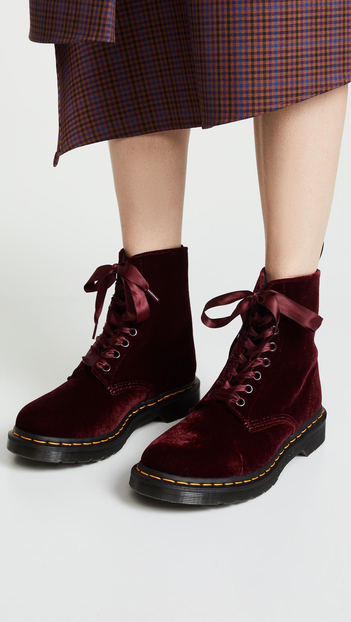 84f8de1ba Dr. Martens 1460 Pascal Velvet 8 Eye Boots in Red - Lyst