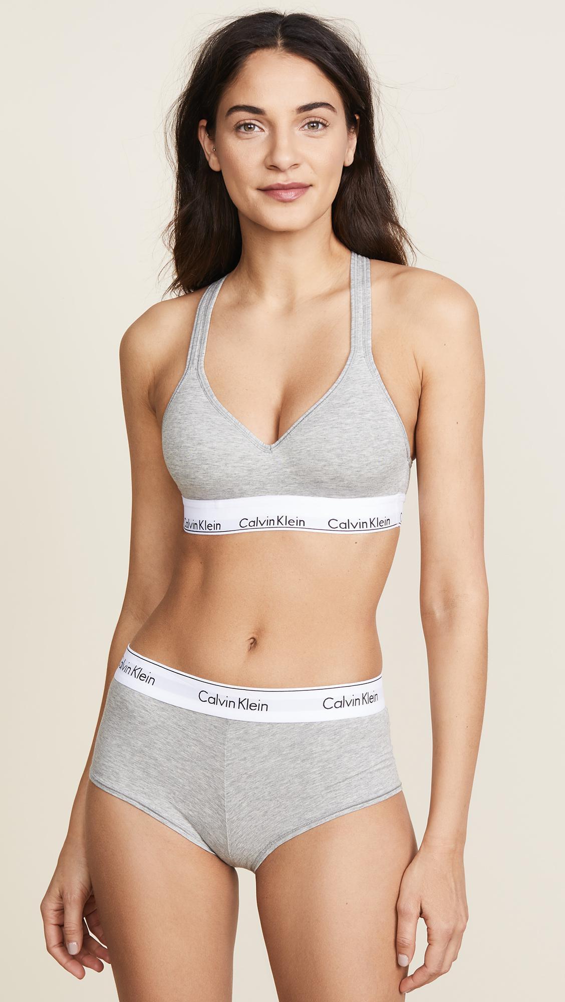 bbef908320969 Calvin Klein - Gray Modern Cotton Lightly Lined Bralette - Lyst. View  fullscreen