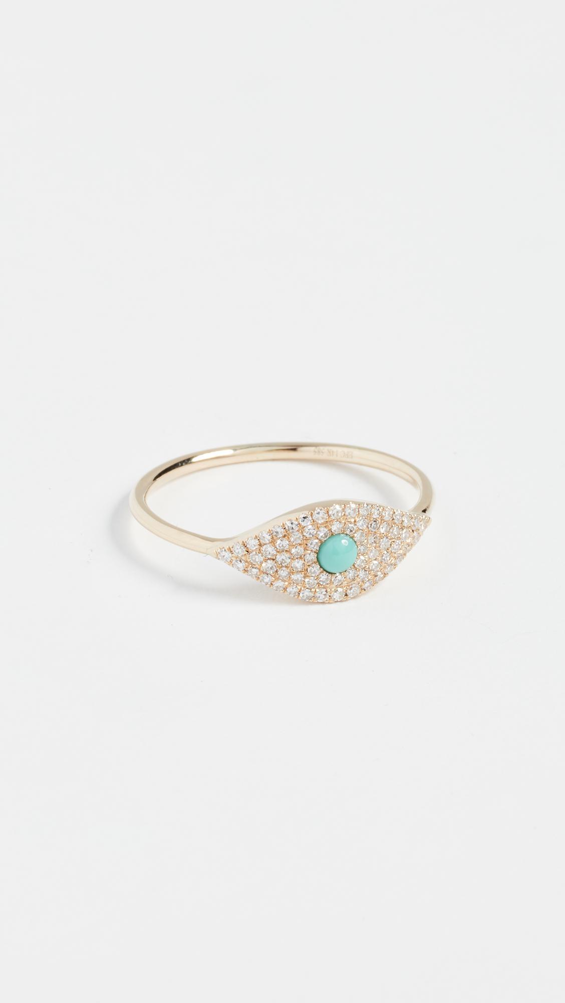 EF Collection 14K Diamond Jumbo Turquoise Evil Eye Ring ZBdYYh41