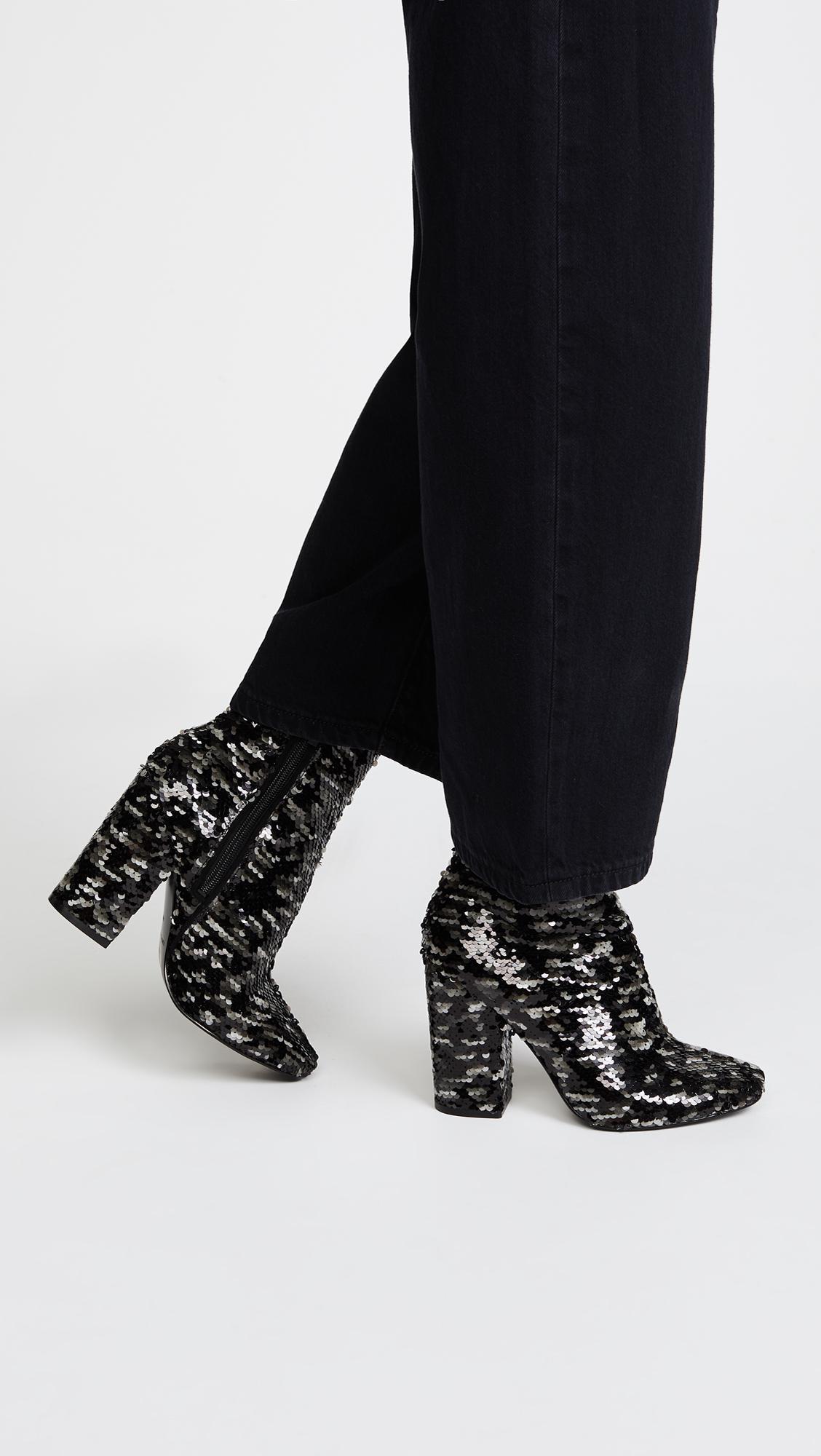 Kendall And Kylie Women's Haedyn Sequined High Block Heel Booties Lqch7ADQ2u