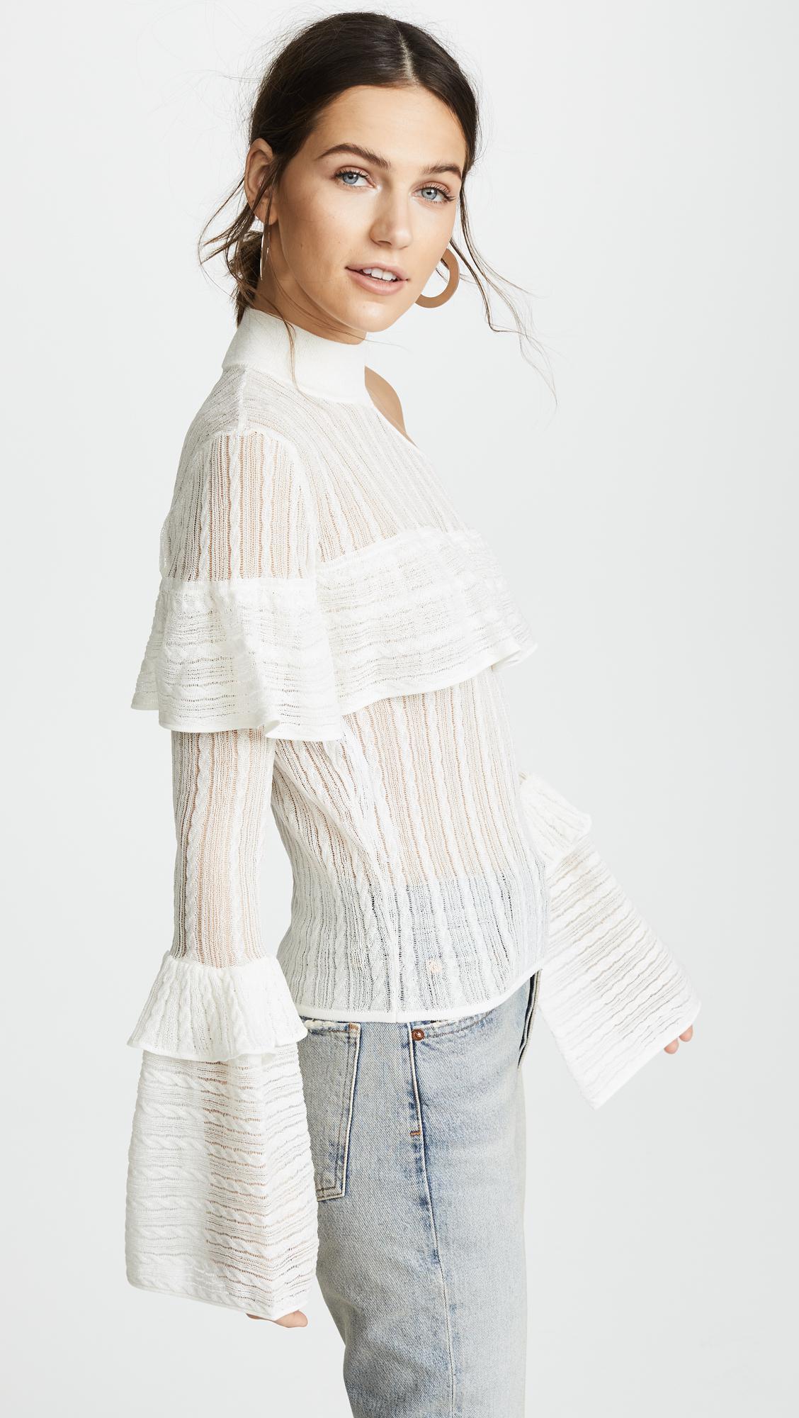 12765fe776bf Self-Portrait Bell Sleeve Knit in White - Lyst