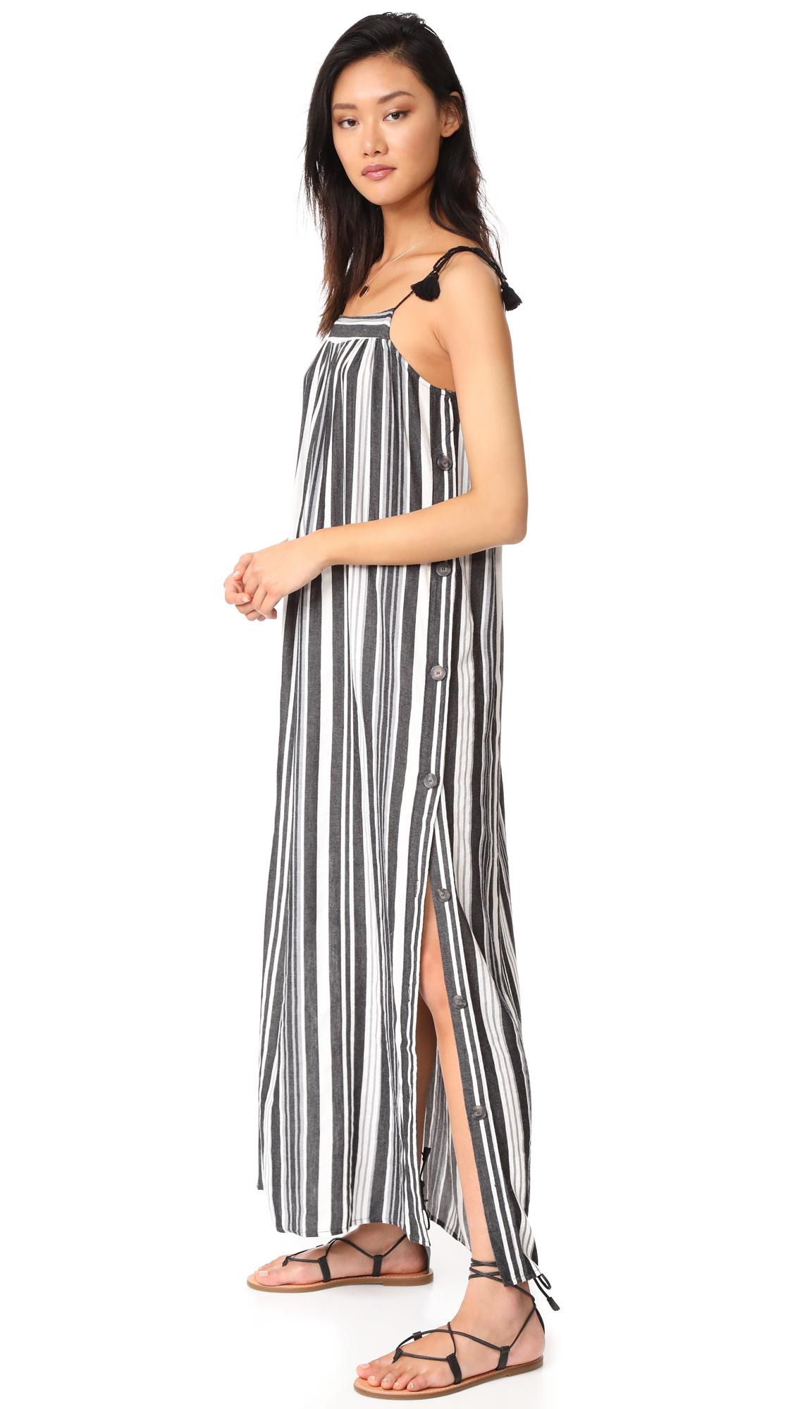 62481ca8d5 Madewell Striped Side Button Maxi Dress in Black - Lyst