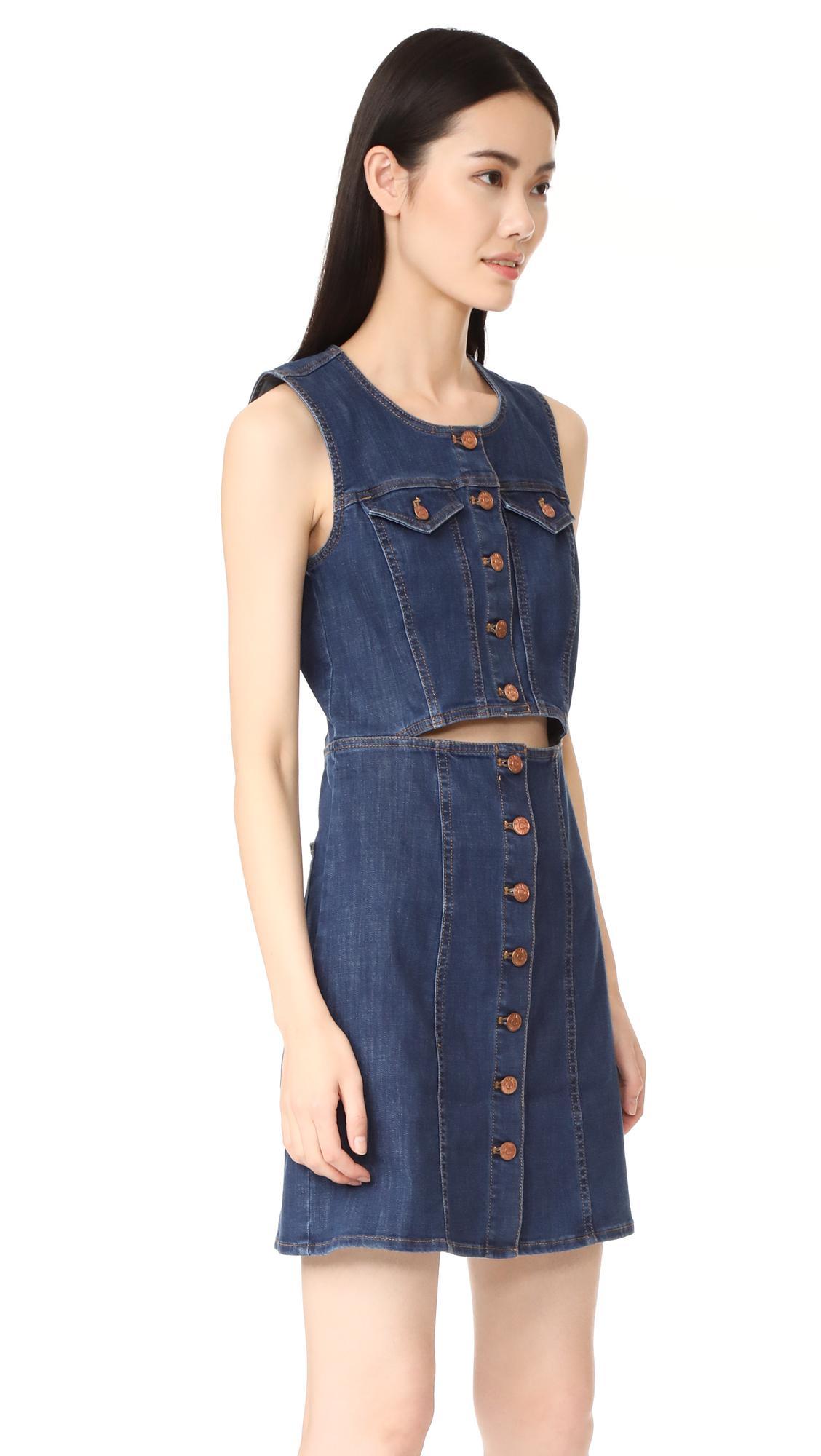 9740b2a5961 Lyst - Madewell Denim Button Front Cutout Dress in Blue