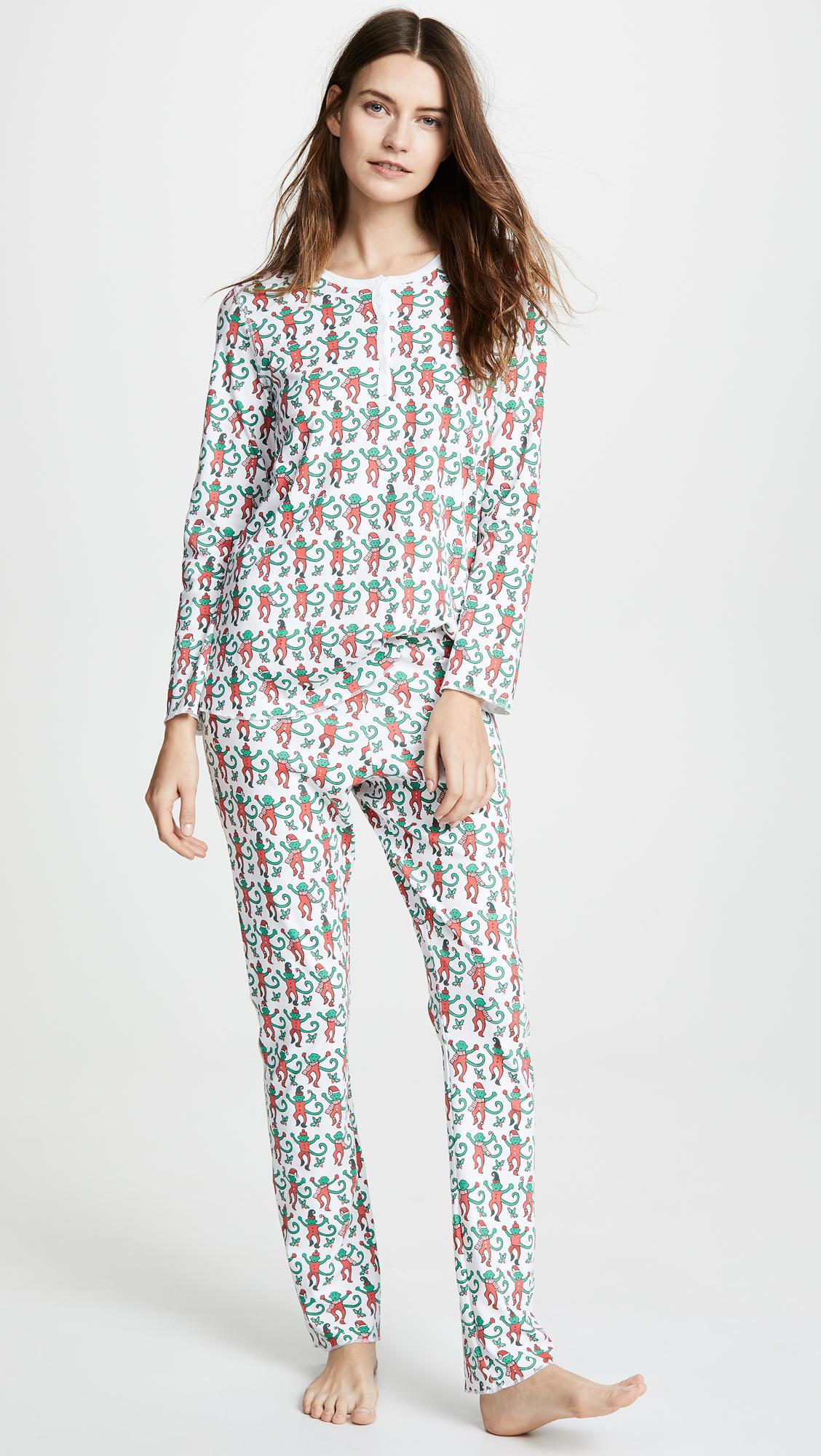 68adad417002 Lyst - Roberta Roller Rabbit Monkey Mas Pajamas in Green