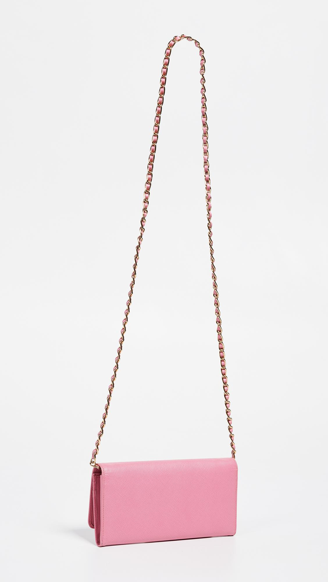 4d0772717359 Lyst - What Goes Around Comes Around Prada Saffiano Chain Wallet in Pink