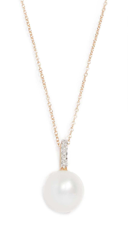 Lyst mateo 14k gold simple pearl diamond pendant in metallic view fullscreen aloadofball Images