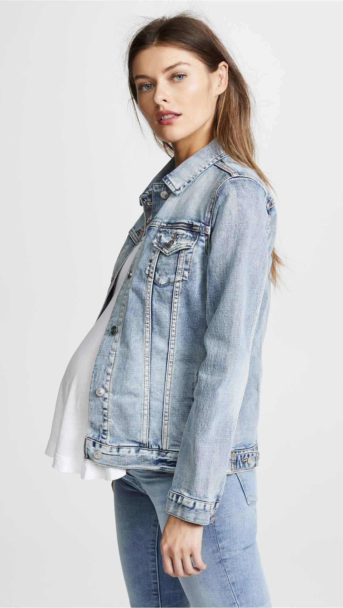 how to purchase fashionable and attractive package best quality Ingrid & Isabel Mama Denim Jacket in Light Wash (Blue) - Lyst