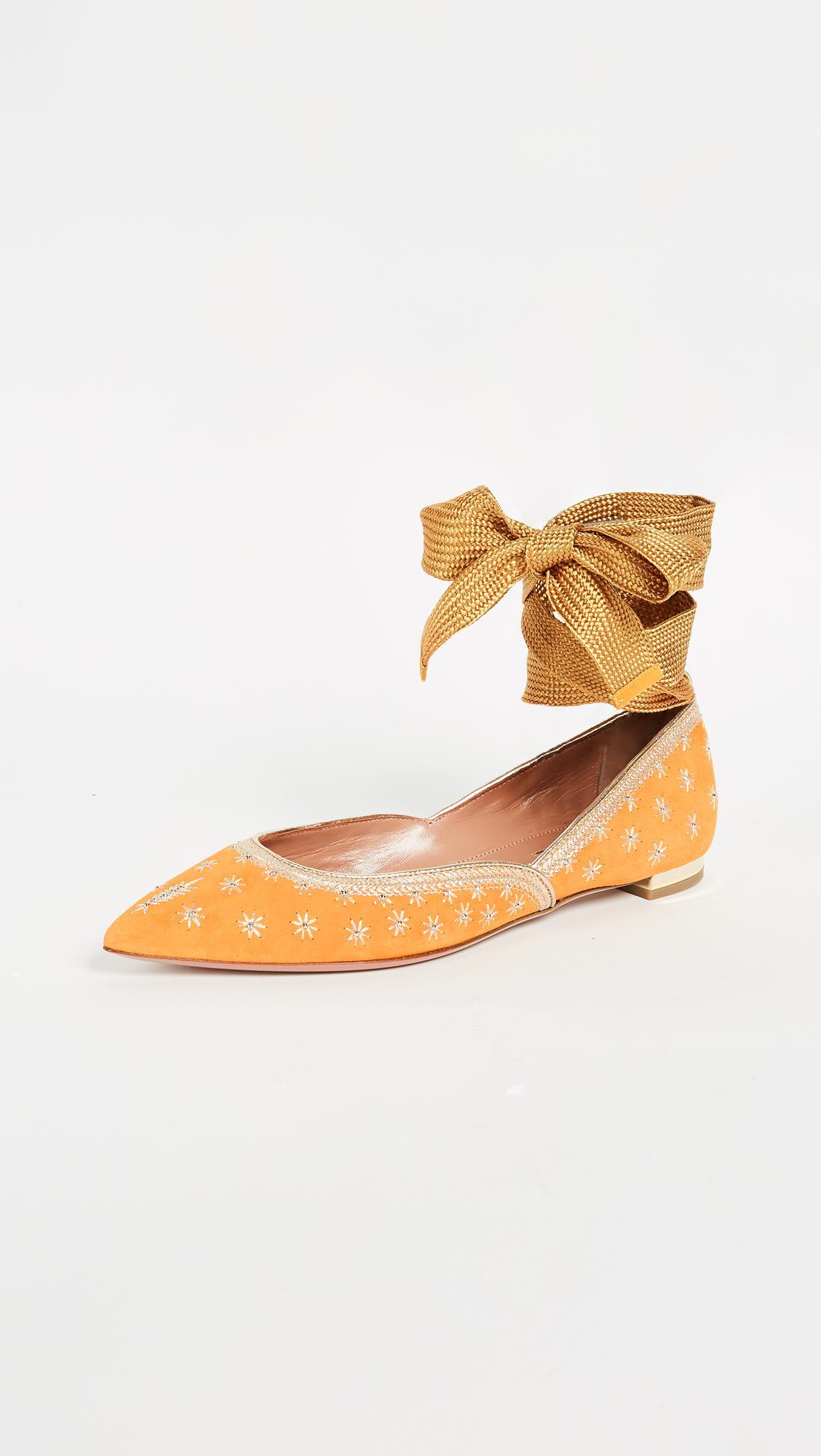 Bliss ankle-wrap ballerinas - Yellow & Orange Aquazzura yKJFtUI