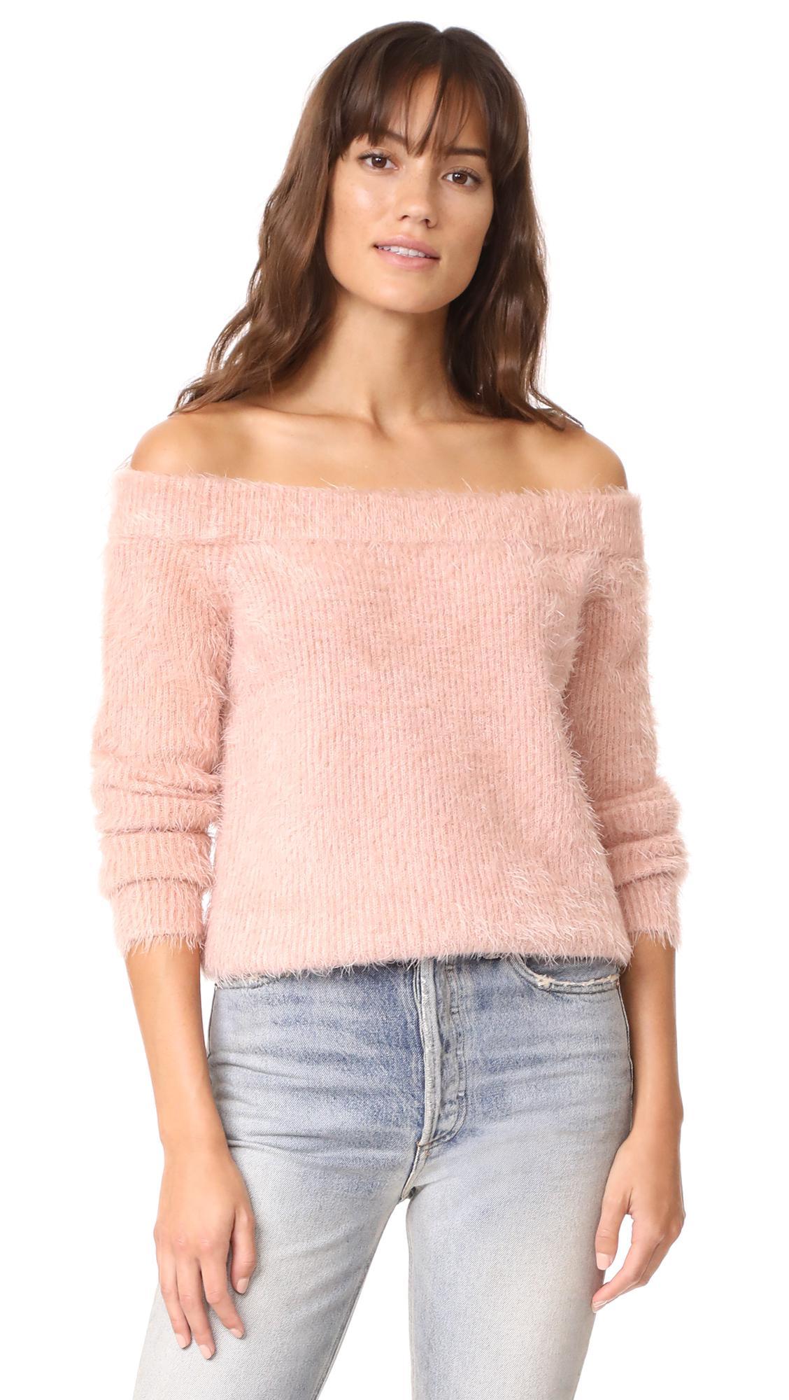 Minkpink Florentine Off Shoulder Sweater in Pink | Lyst