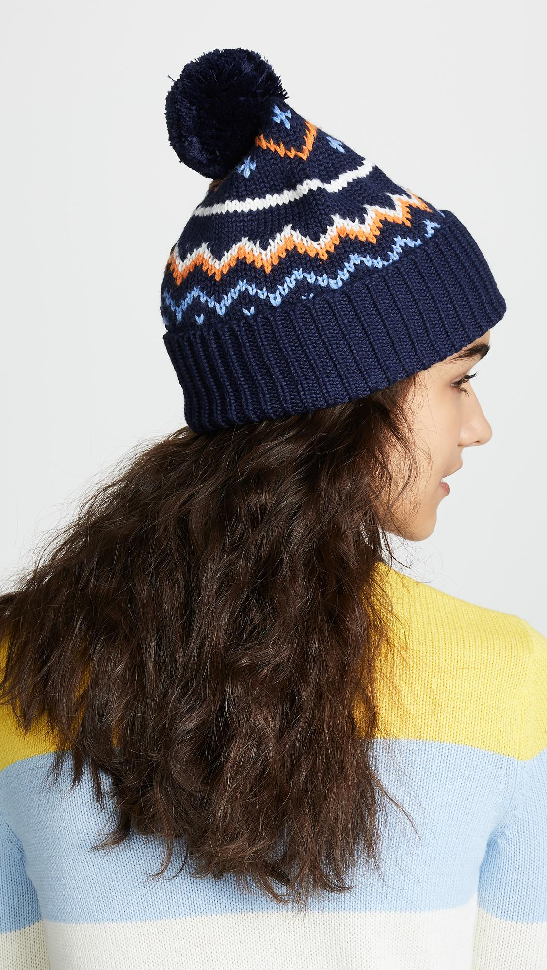 b011d2c7950 Tory Sport Performance Merino Fair Isle Hat in Blue - Lyst