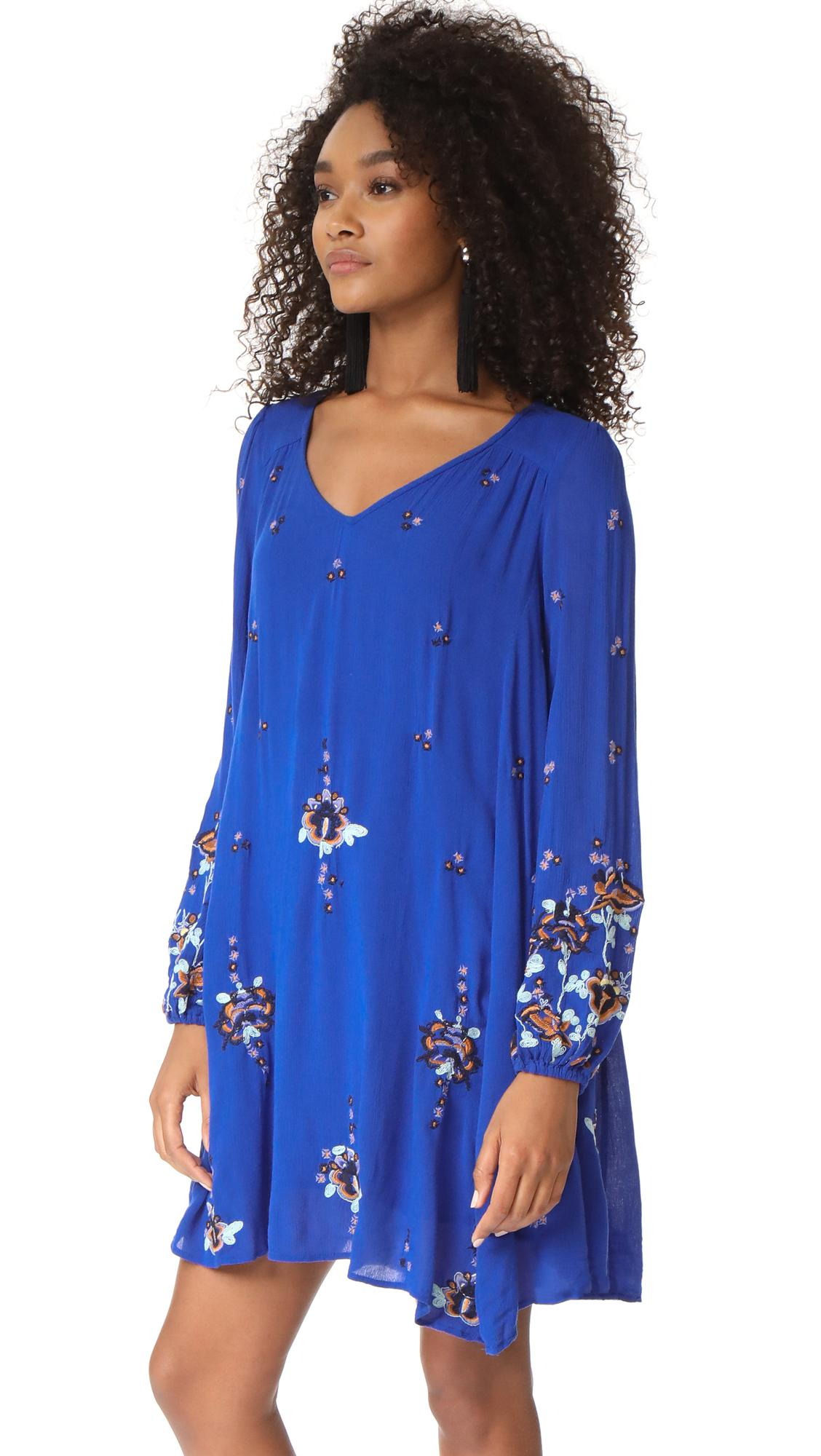 576f952e7bb7 Free People Oxford Embroidered Mini Dress in Blue - Lyst