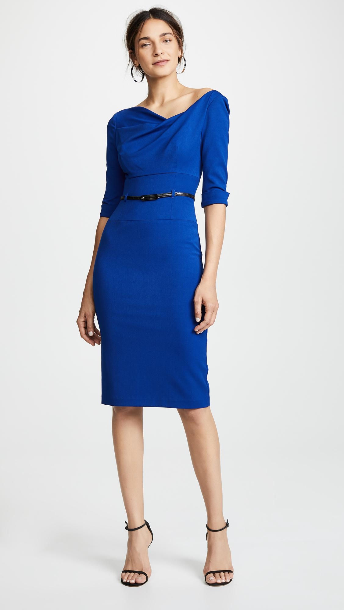 ea627e832a Black Halo 3 4 Sleeve Jackie O Dress in Blue - Lyst