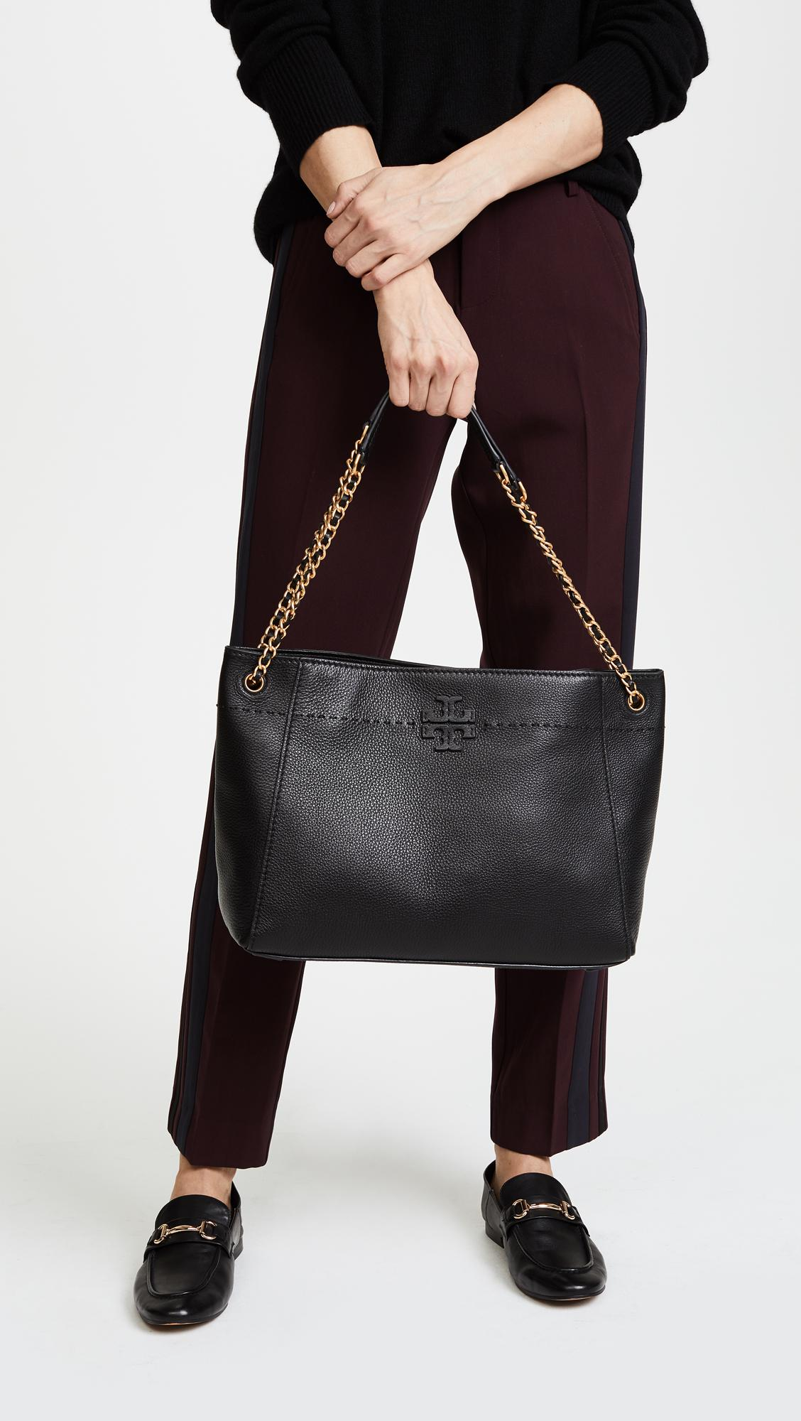 43538839dad9 Tory Burch Mcgraw Chain Shoulder Slouchy Tote in Black - Lyst