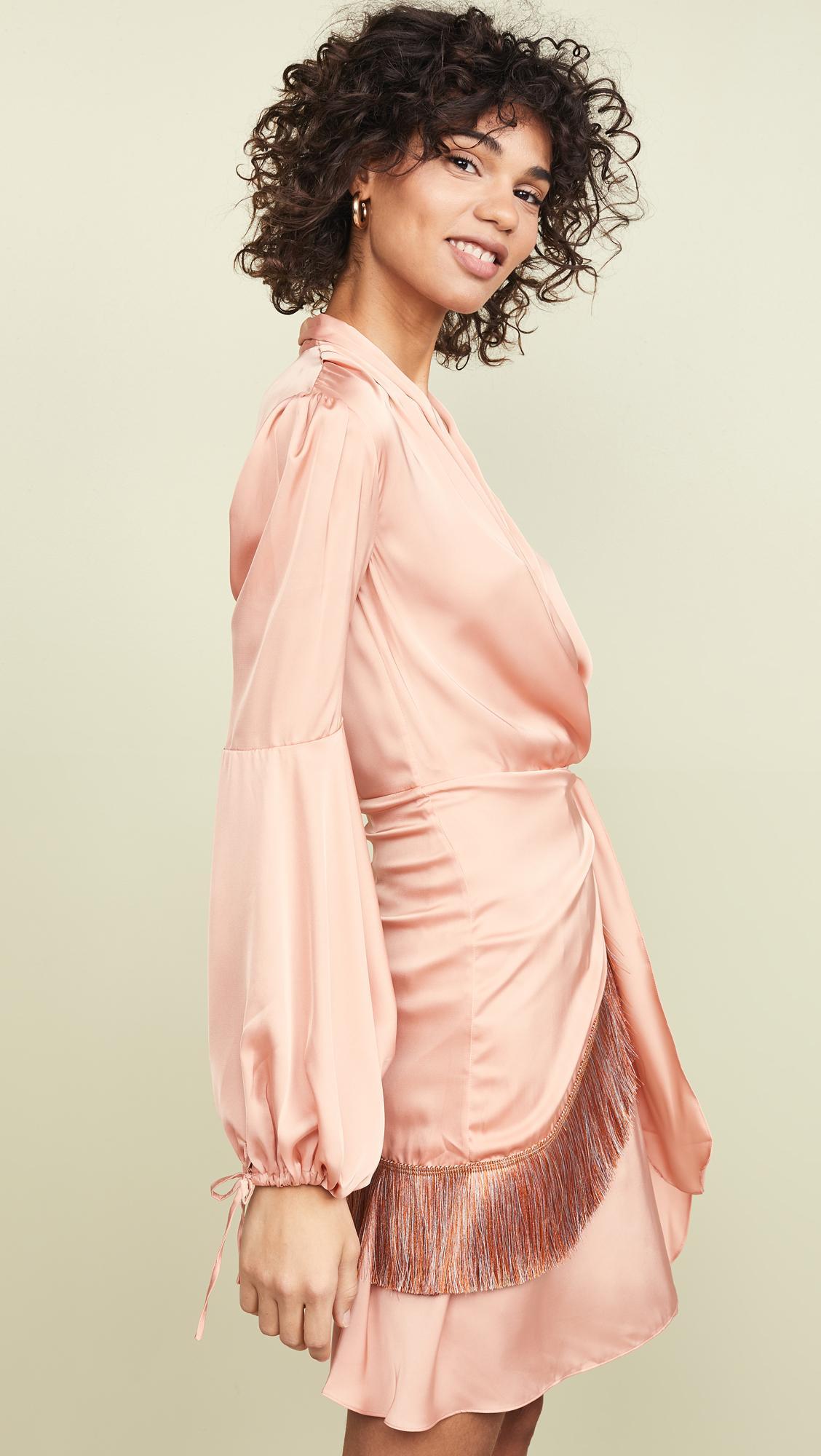 ab851da30d50 Lyst - PATBO Fringe Trim Mini Wrap Dress in Pink
