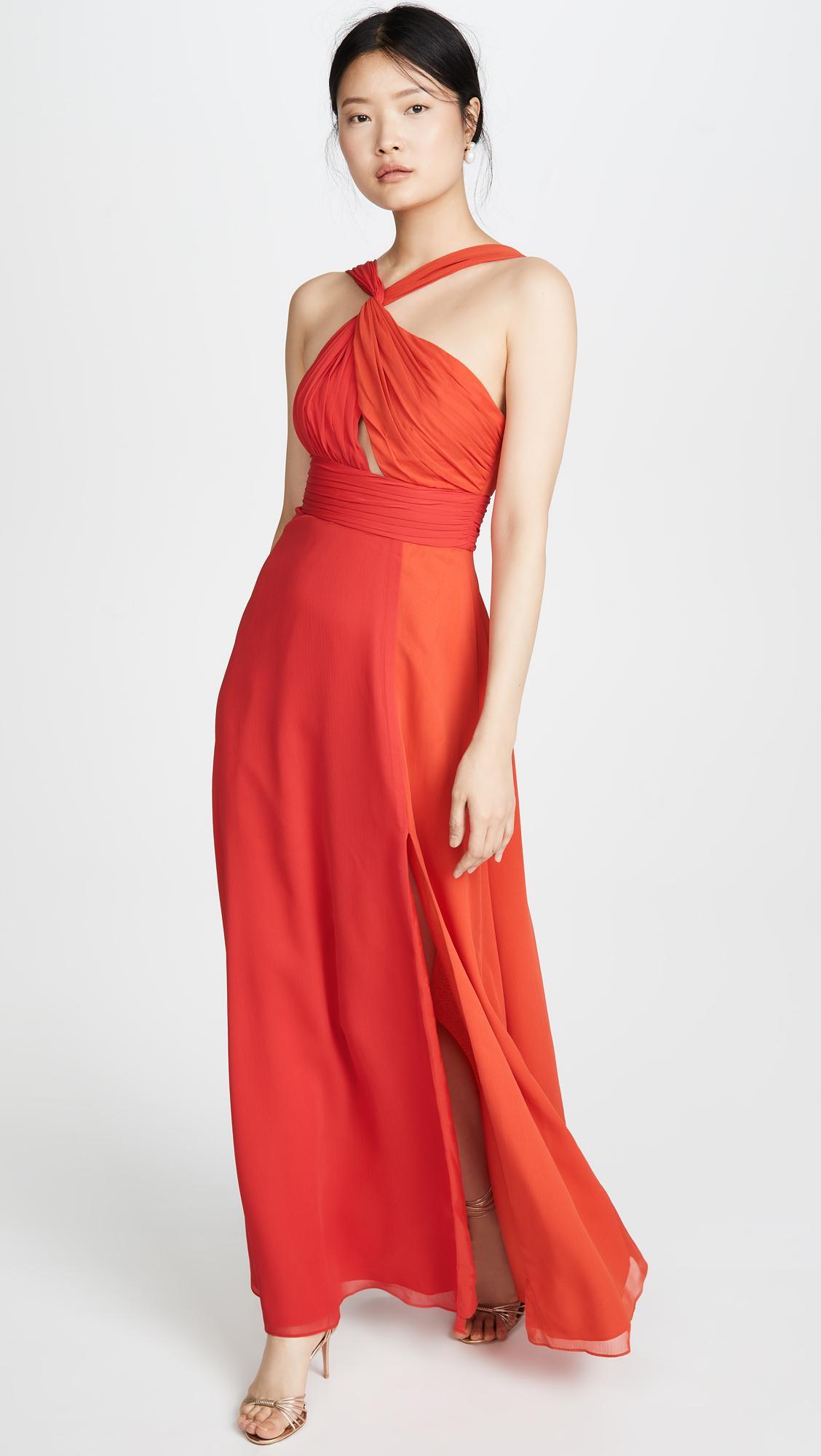 b0736df1 JILL Jill Stuart Asymmetrical Colorblock Gown in Red - Lyst