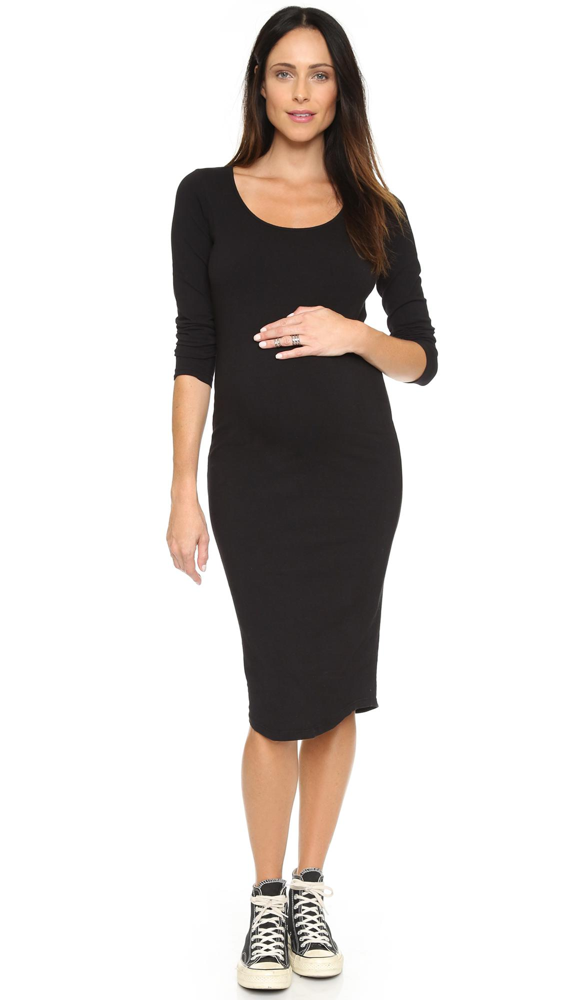 Lyst monrow maternity long sleeve dress in black save 20 monrow womens black maternity long sleeve dress ombrellifo Choice Image