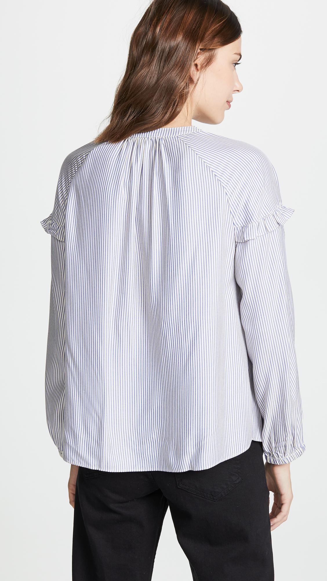 3af4d7f13c Madewell - Multicolor Collarless Ruffle Sleeve Button Down - Lyst. View  fullscreen