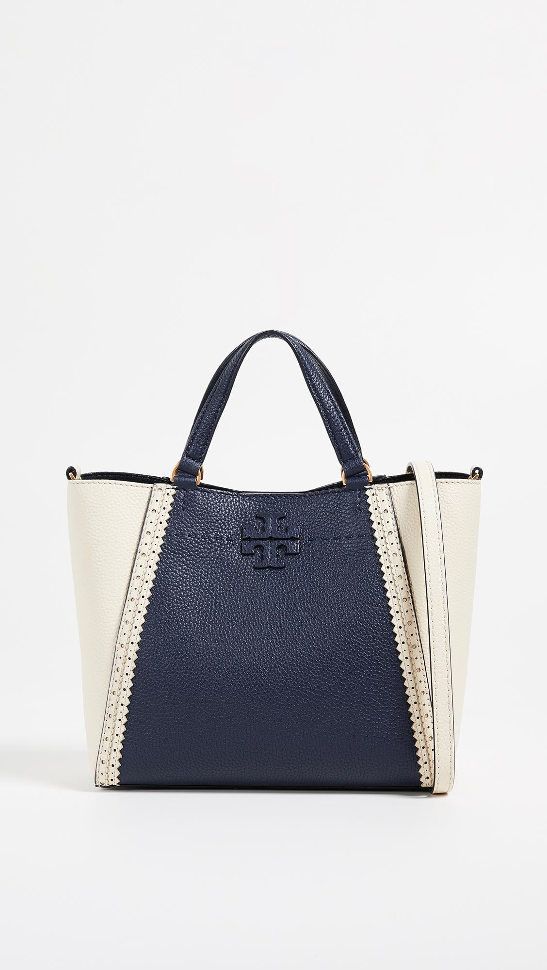 40c031f6952b0 Lyst - Tory Burch Mcgraw Brogue Small Caryall Tote in Blue