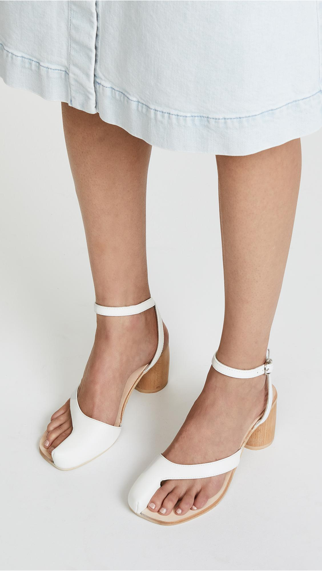 eb483524dd3 Jeffrey Campbell Hex Block Heel Sandals in White - Lyst