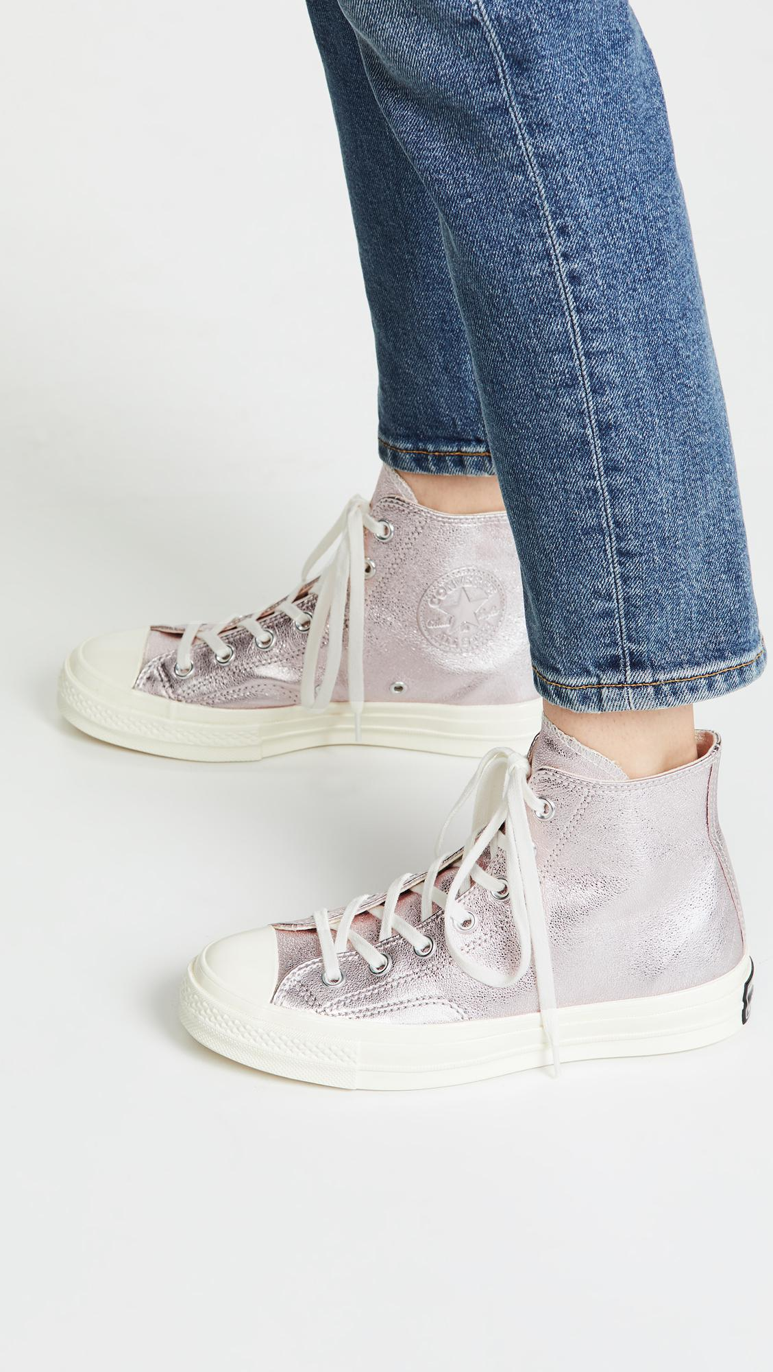 89146d9e23d4 Lyst - Converse Chuck 70s High Top Heavy Metal Sneakers in Pink