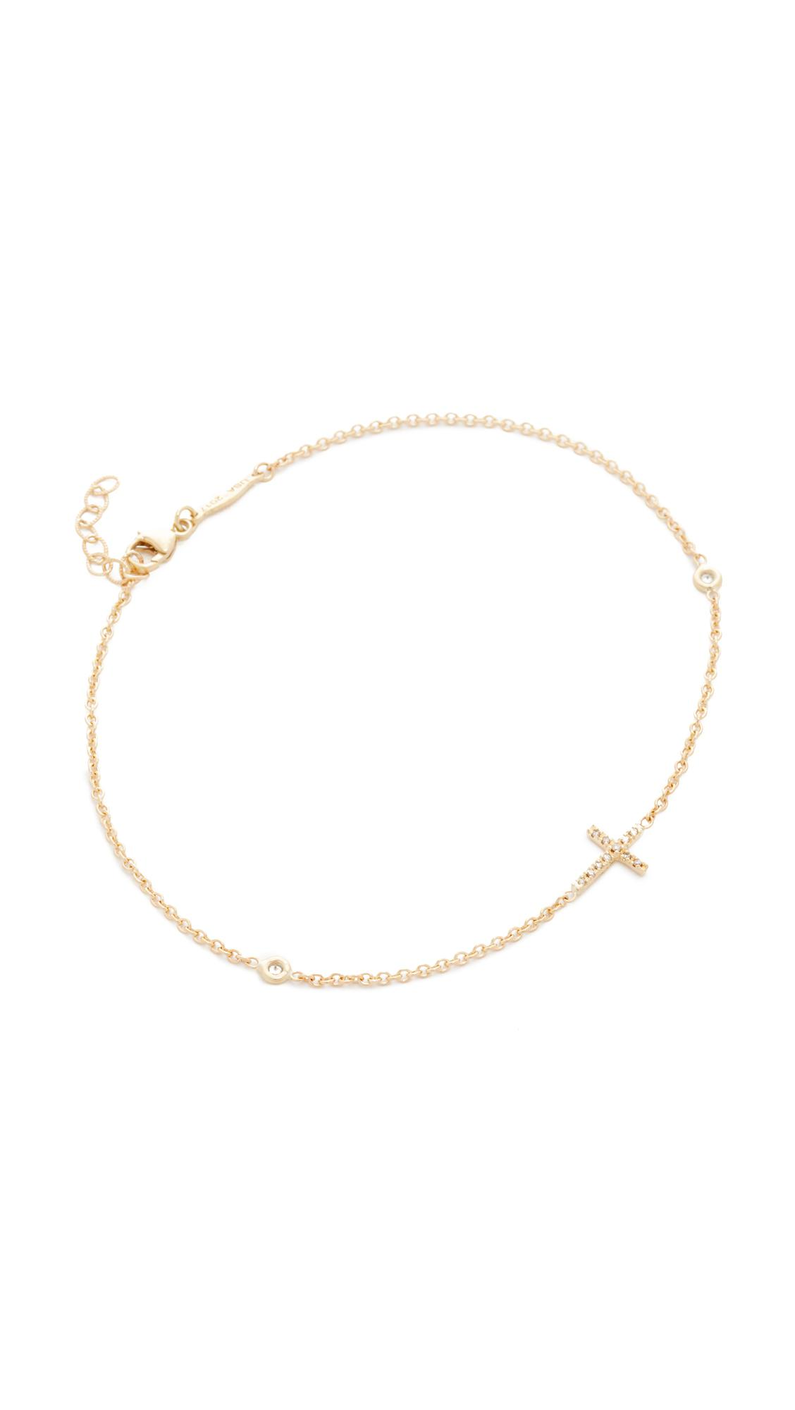 14-karat Rose Gold Diamond Anklet - one size Jacquie Aiche Pp73vJv