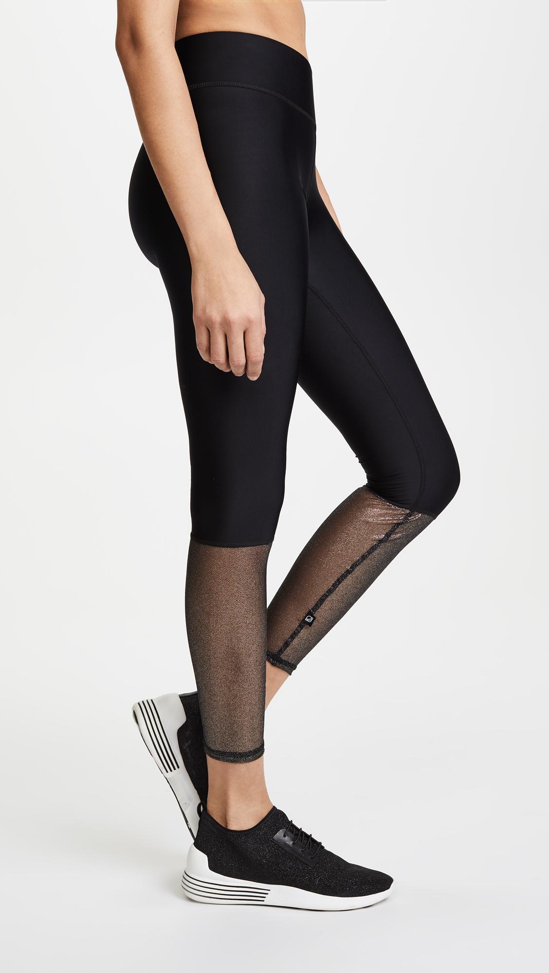 Lyst - Terez Glitter Mesh Leggings in Black 667b7327a7b4