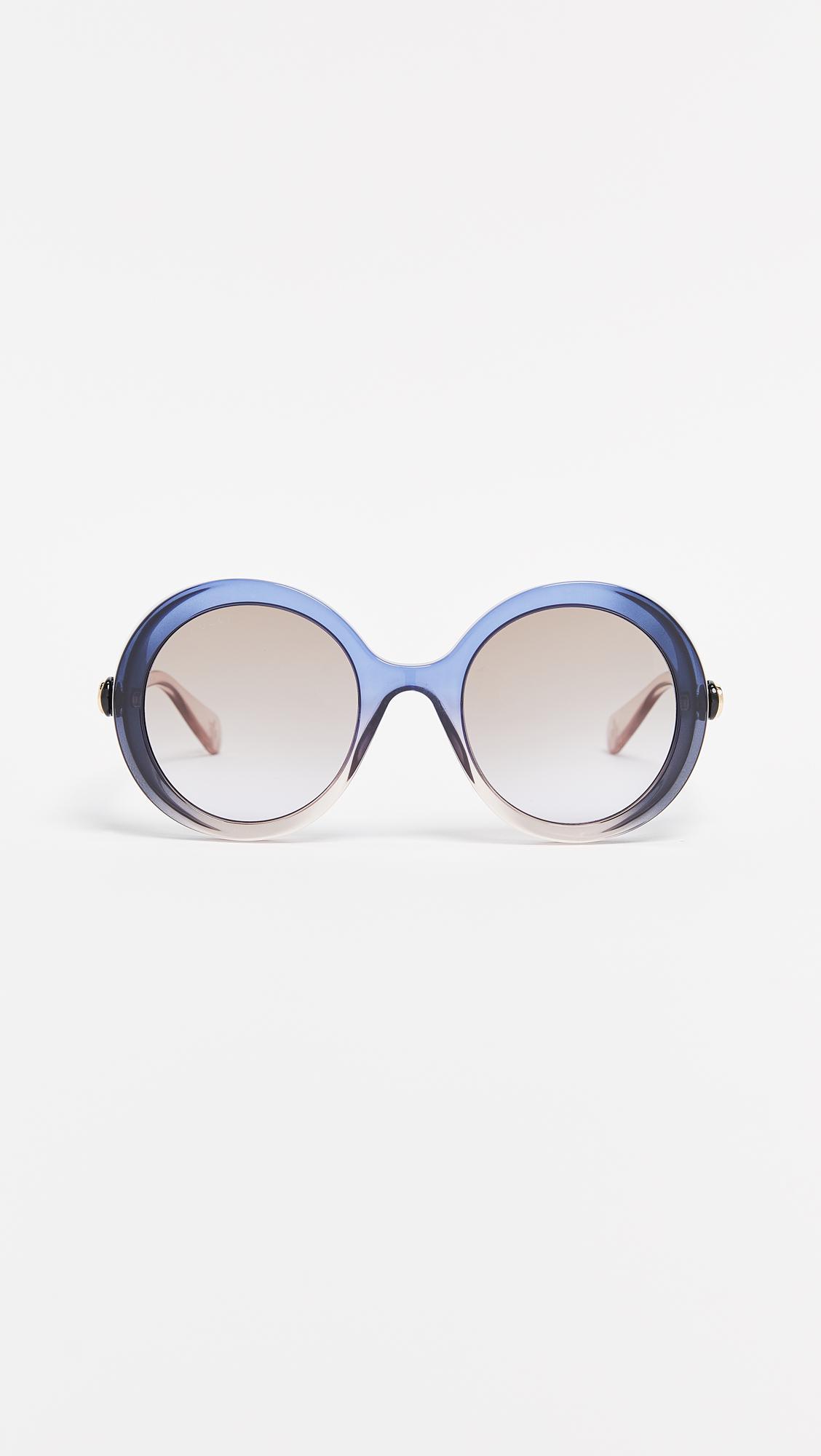 1db6449f192 Lyst - Gucci Glamorous Bold Round Sunglasses in Blue