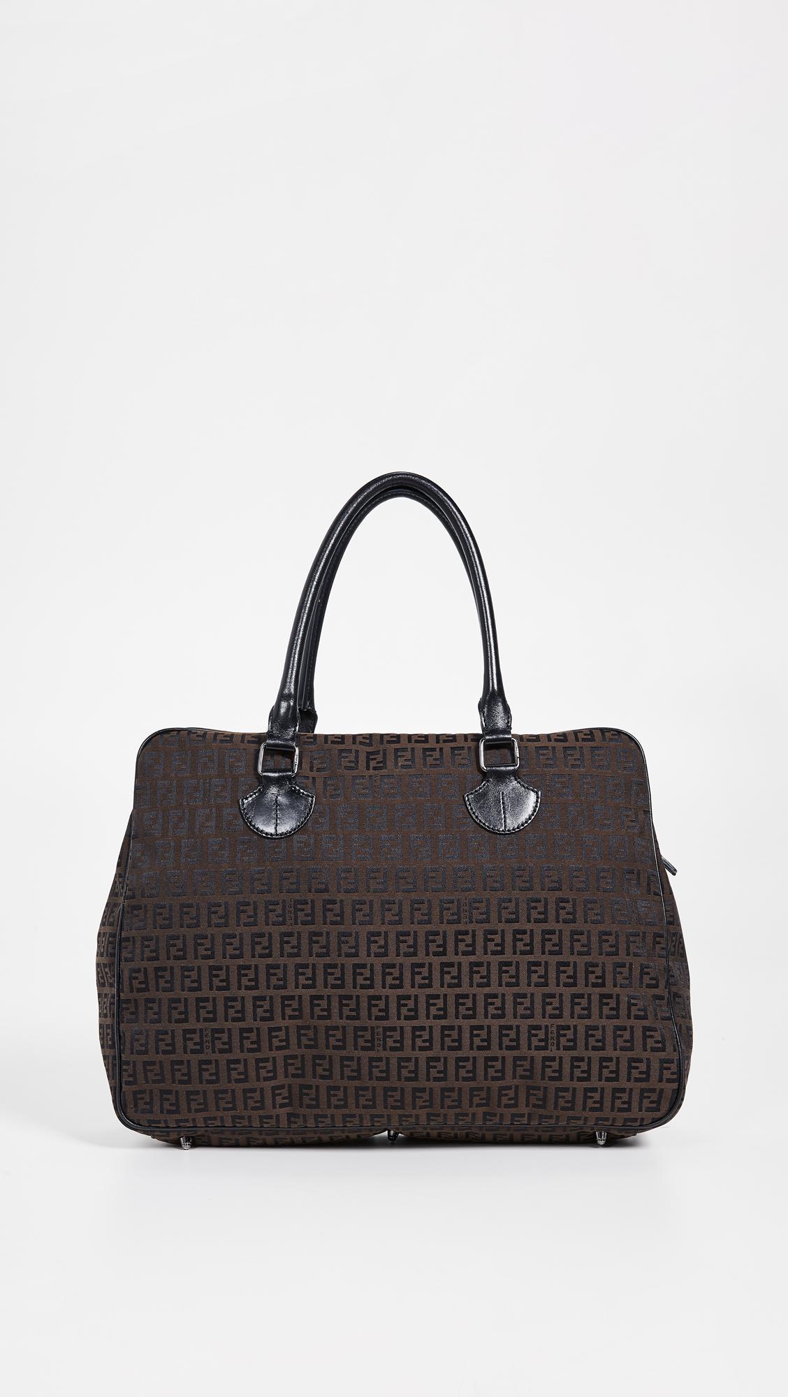 1cf330a13805 Lyst - What Goes Around Comes Around Fendi Zucchino Tote Bag in Black