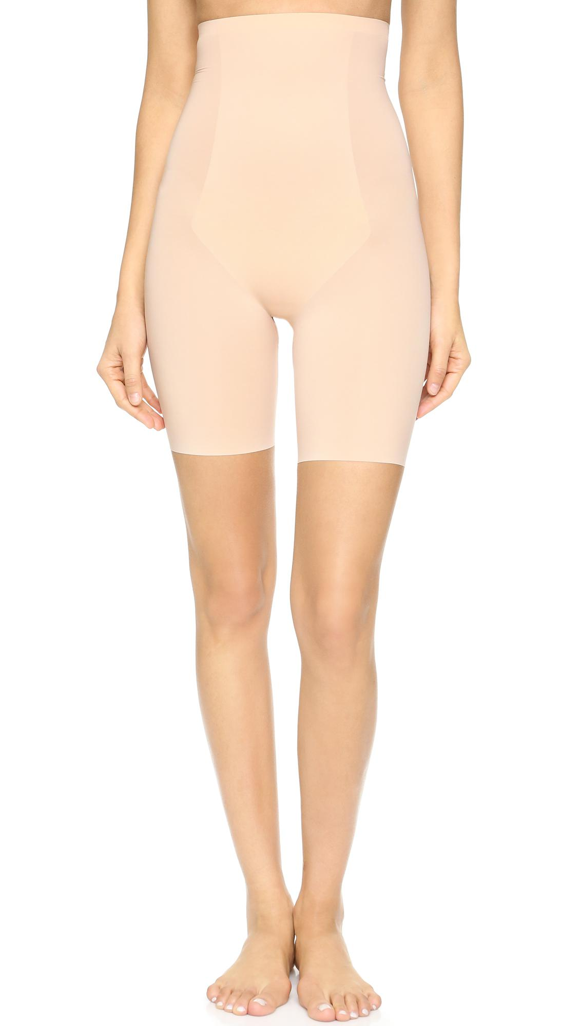 49284f0011edf Lyst - Spanx Thinstincts High Waisted Mid-thigh Shorts in Natural