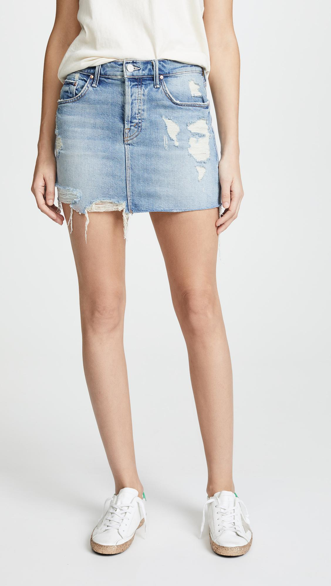a01412455f69 Mother The Vagabond Mini Fray Skirt in Blue - Lyst