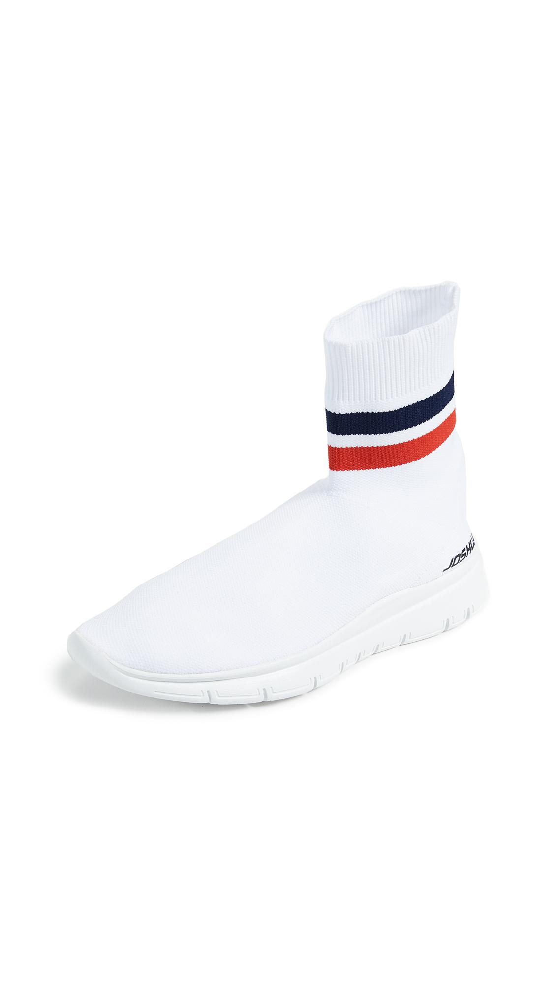 Joshua Sanders White Knit Logo Scallop Sneakers 3IAuji