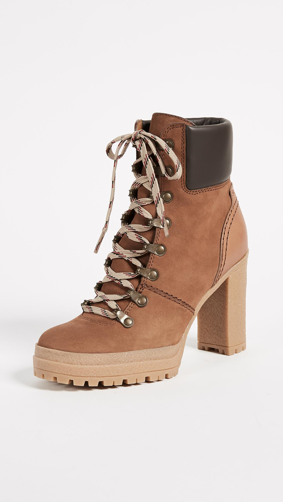 b28e6df0bce7 Lyst - See By Chloé Eileen Lace Up Boots in Brown