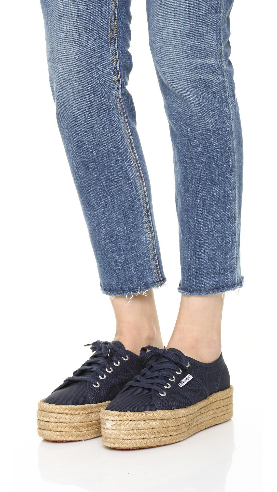 9c08c025106 Lyst - Superga 2790 Platform Espadrille Sneakers in Blue