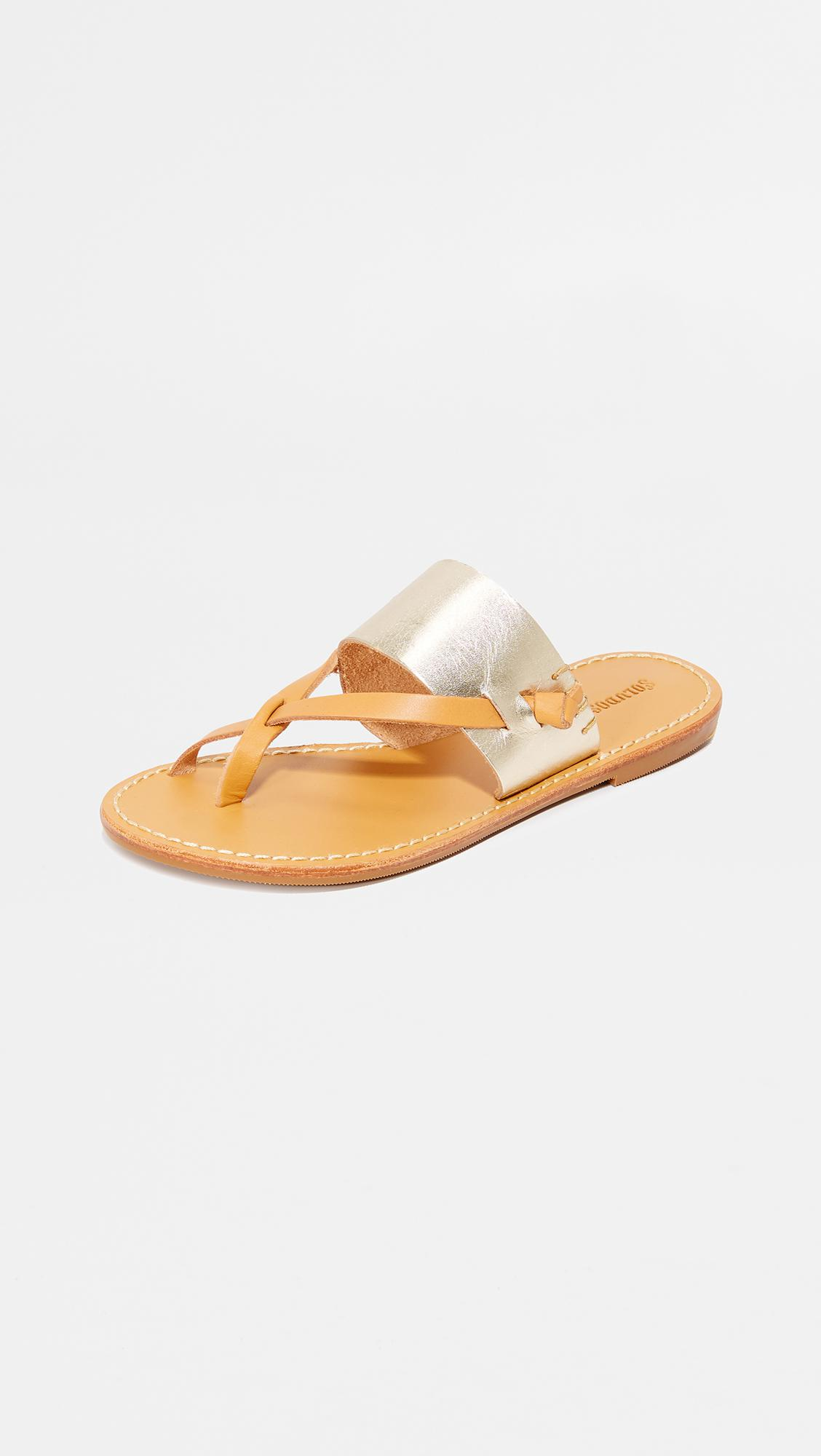 f2db873e1329 Lyst - Soludos Slotted Thong Sandals in Metallic - Save 10%