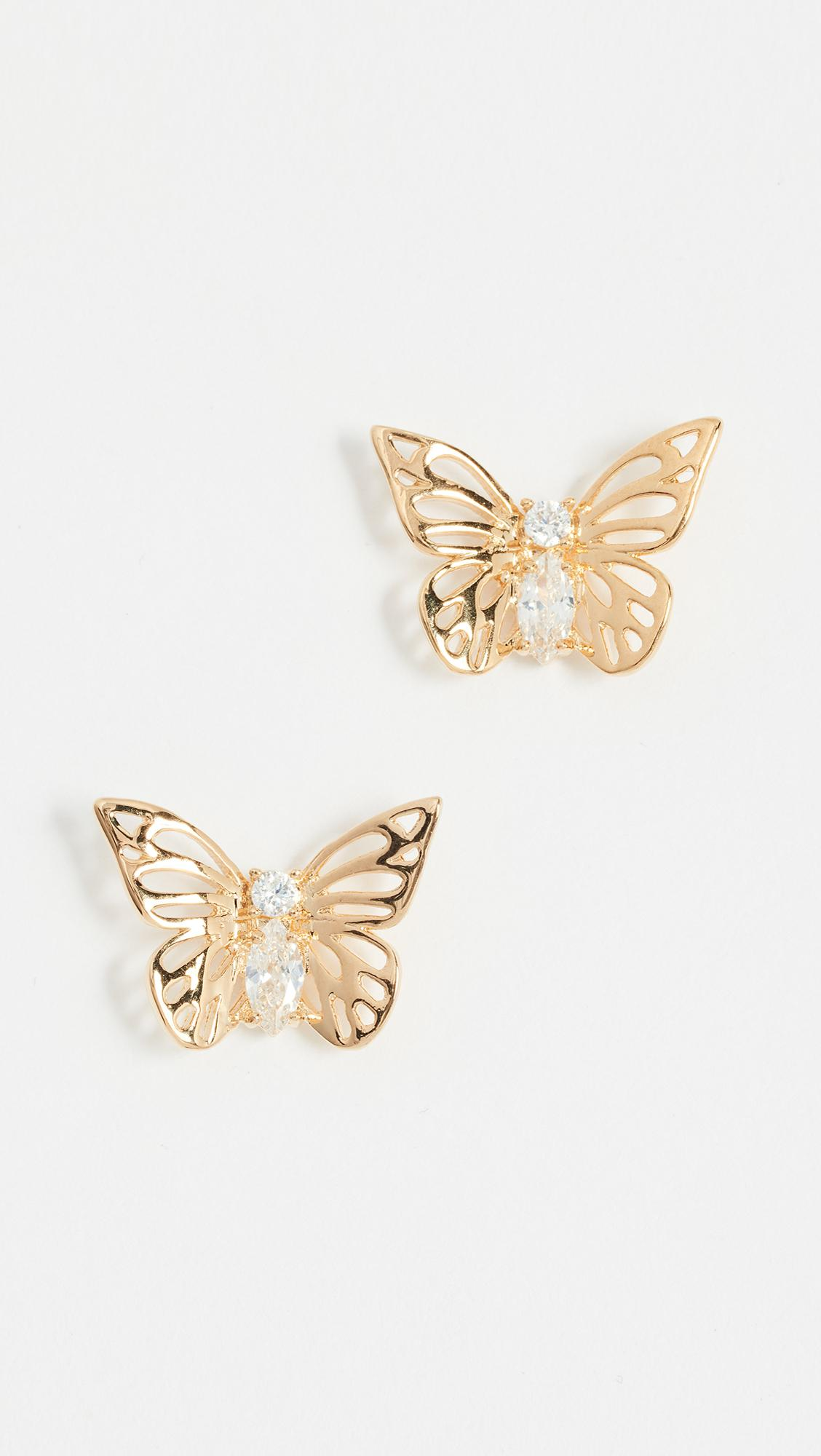 95afc4e2fb9a3 Lyst - Kate Spade Social Butterfly Studs in Metallic