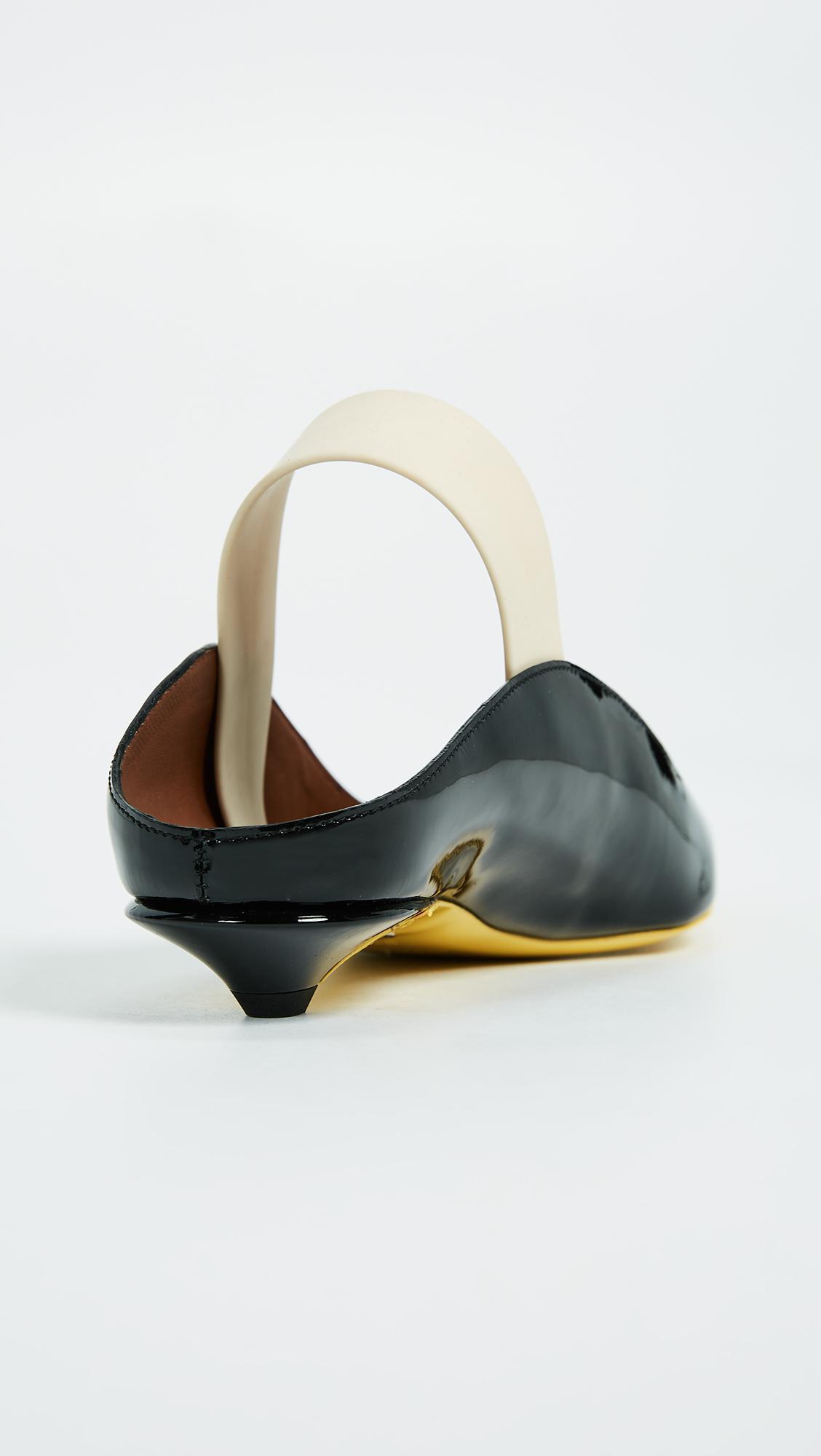 928dd5bbb18 Lyst - Proenza Schouler Rubber Strap Patent Kitten Heel Flats in Black