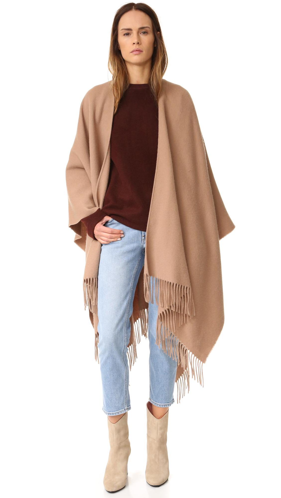 Acne Apolo Fringe Poncho in Brown