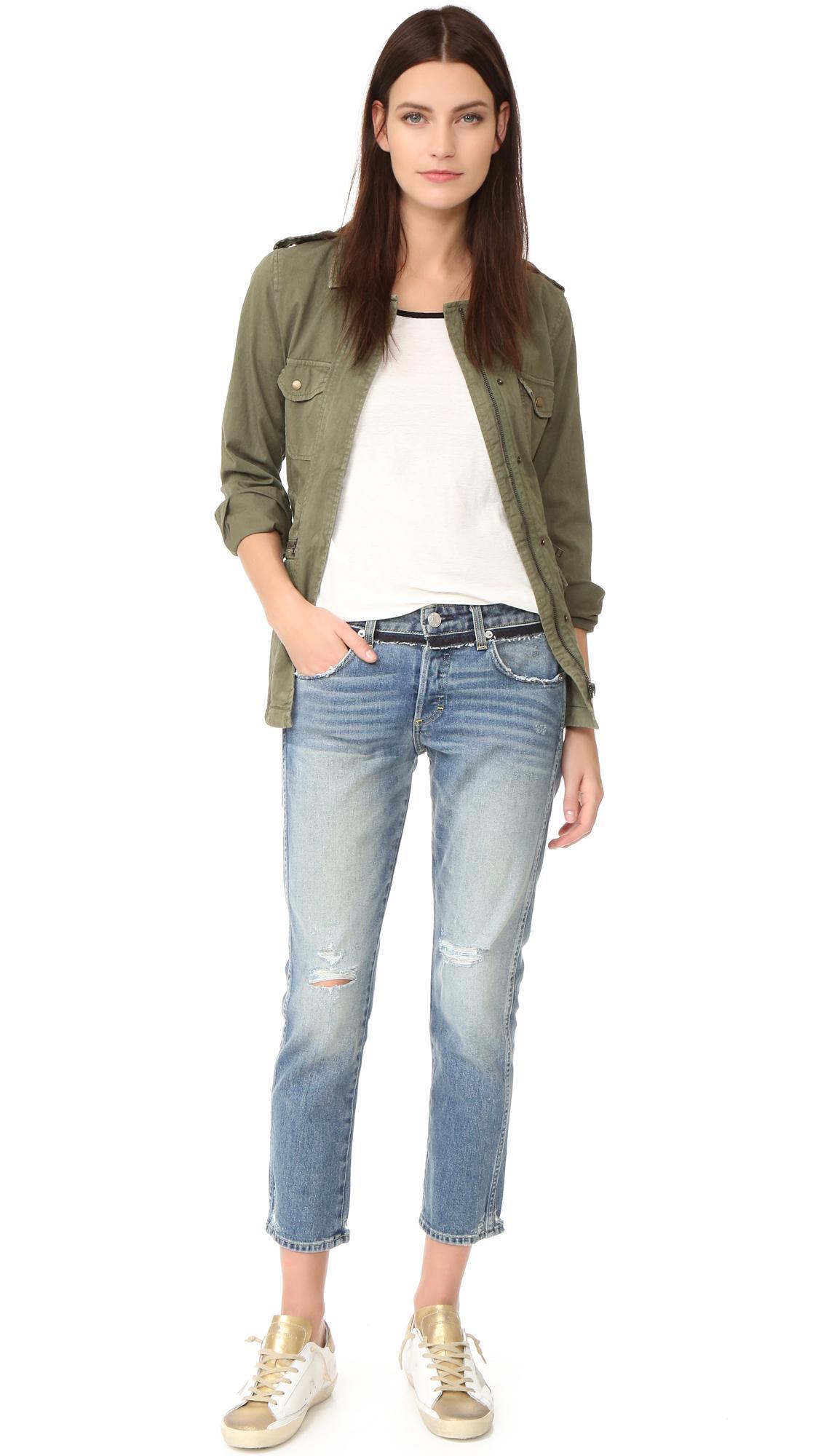 Lyst - Amo Tomboy Crop Jeans in Blue