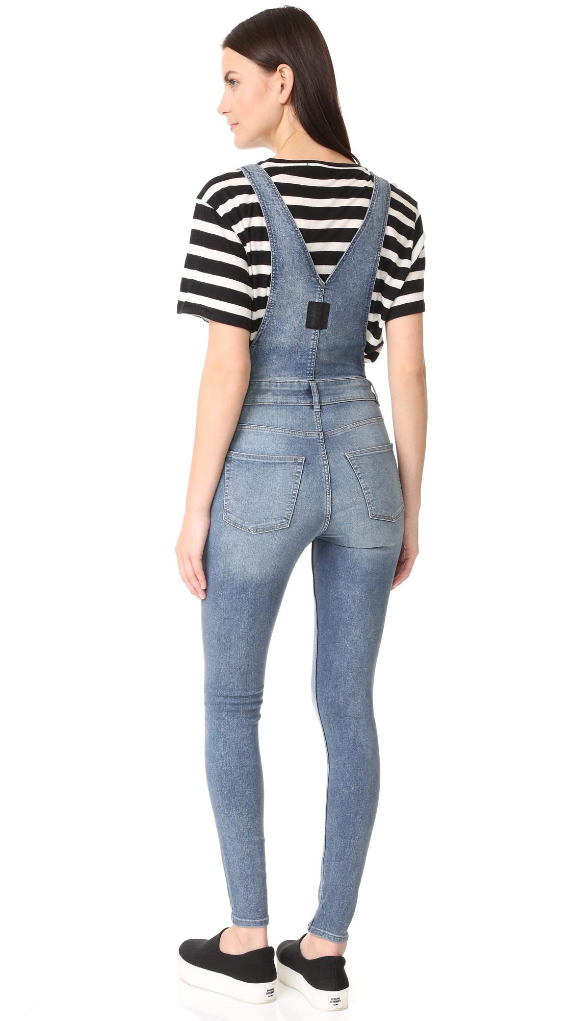 Cheap monday Dungaree Spray Blue Noise Overalls in Blue | Lyst