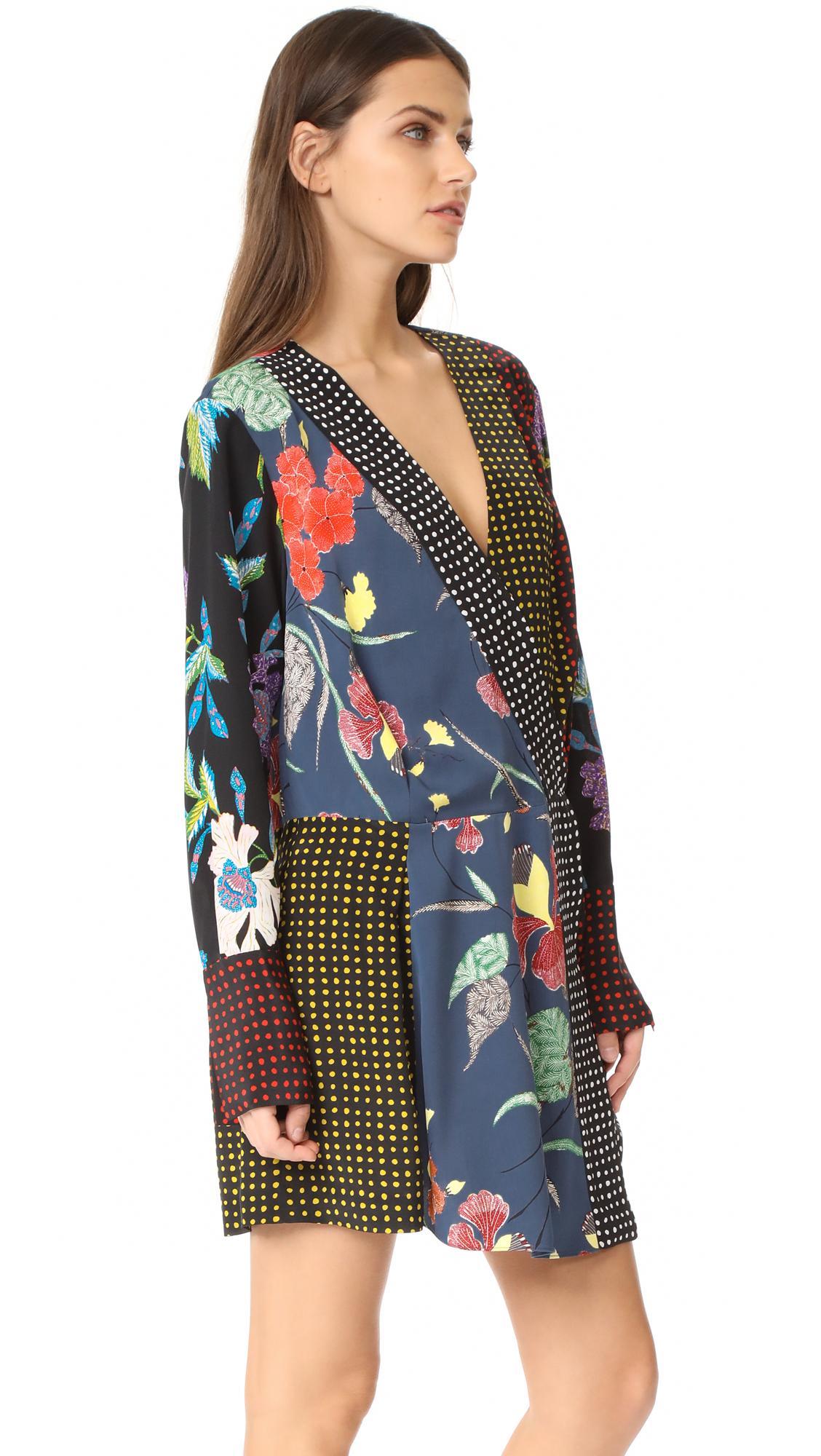 Diane Von Furstenberg Long Sleeve Crossover Dress In Blue