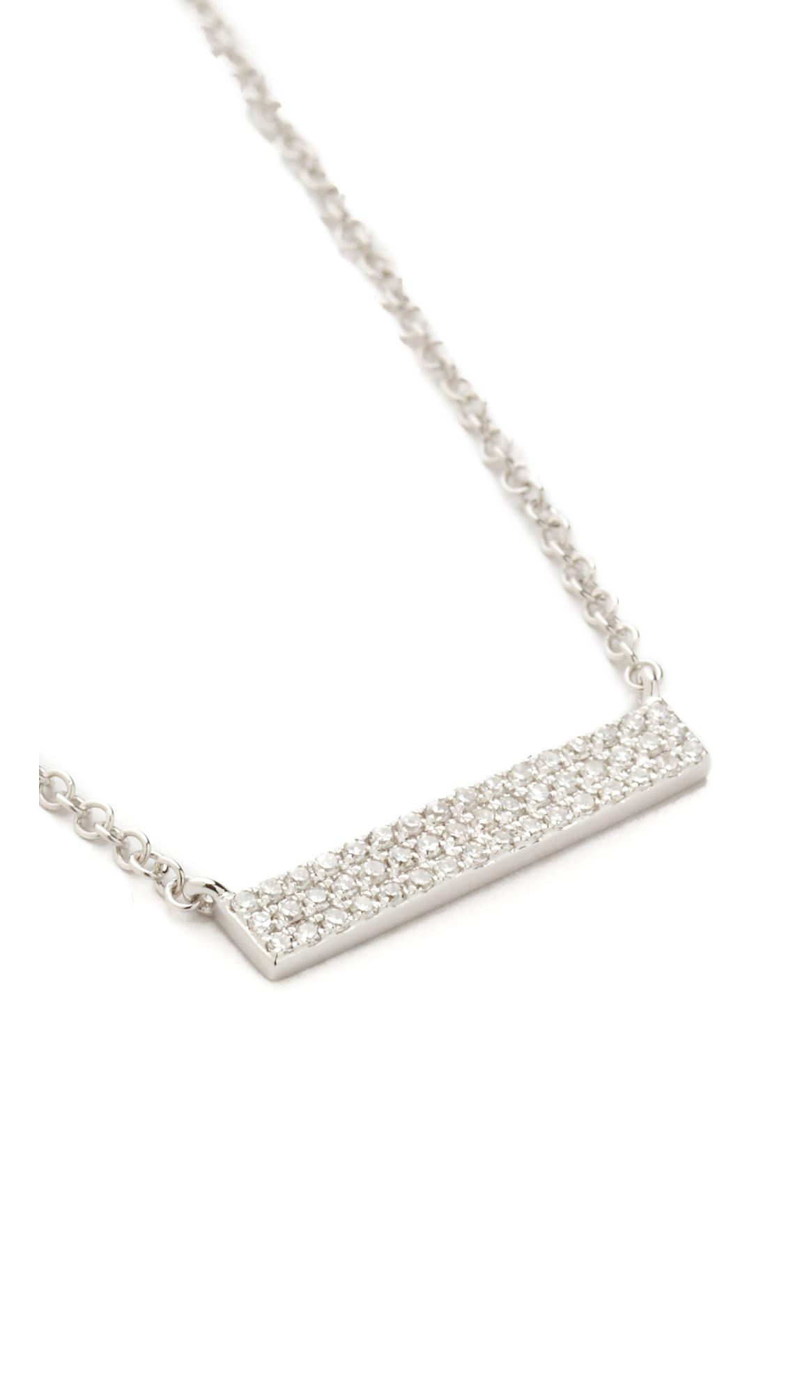 Lyst Ef Collection Mini Diamond Bar Necklace In Metallic
