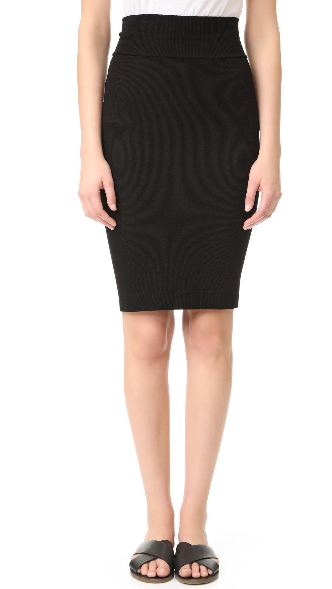 enza costa rib pencil skirt in black lyst