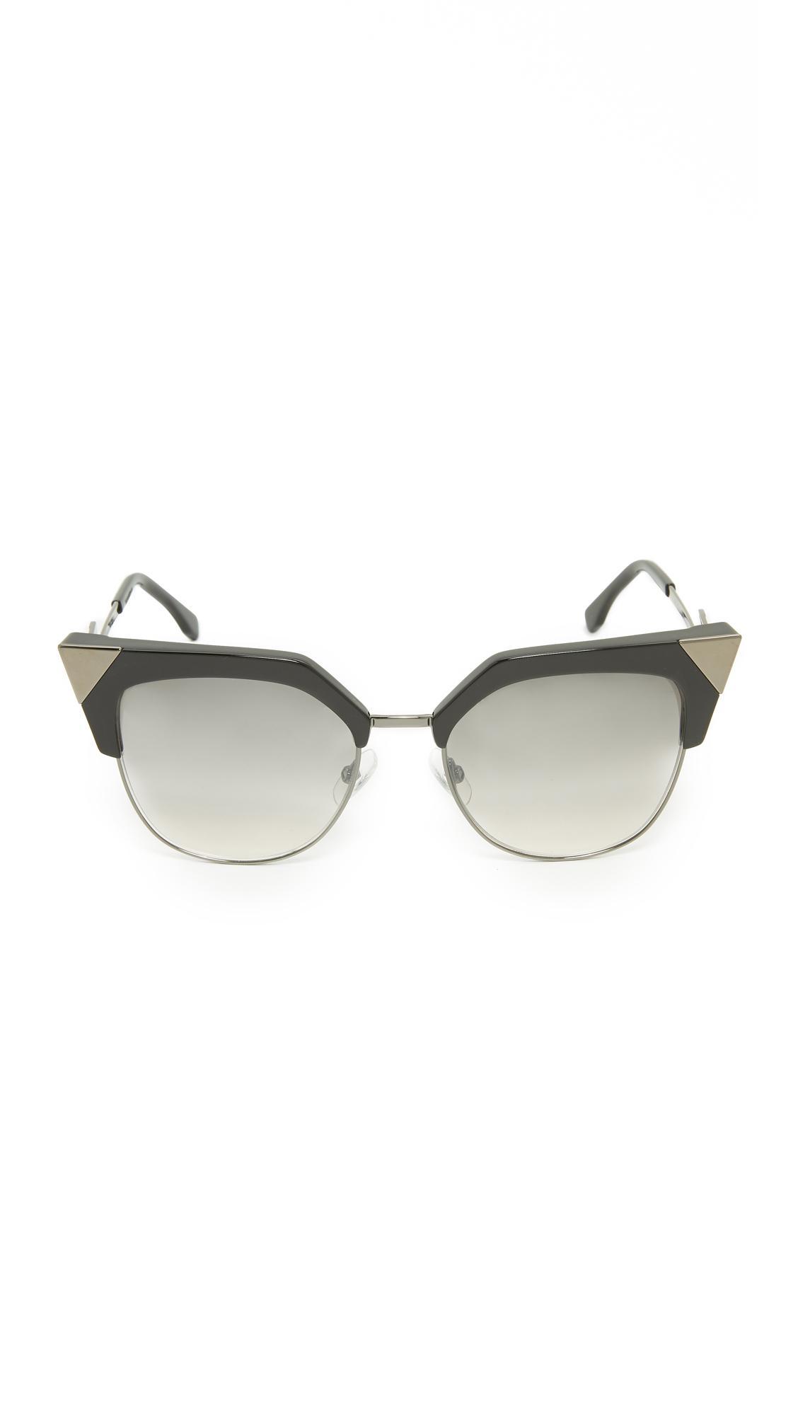 03dc8e9347b Fendi Iridia Crystal Corner Sunglasses in Gray - Lyst