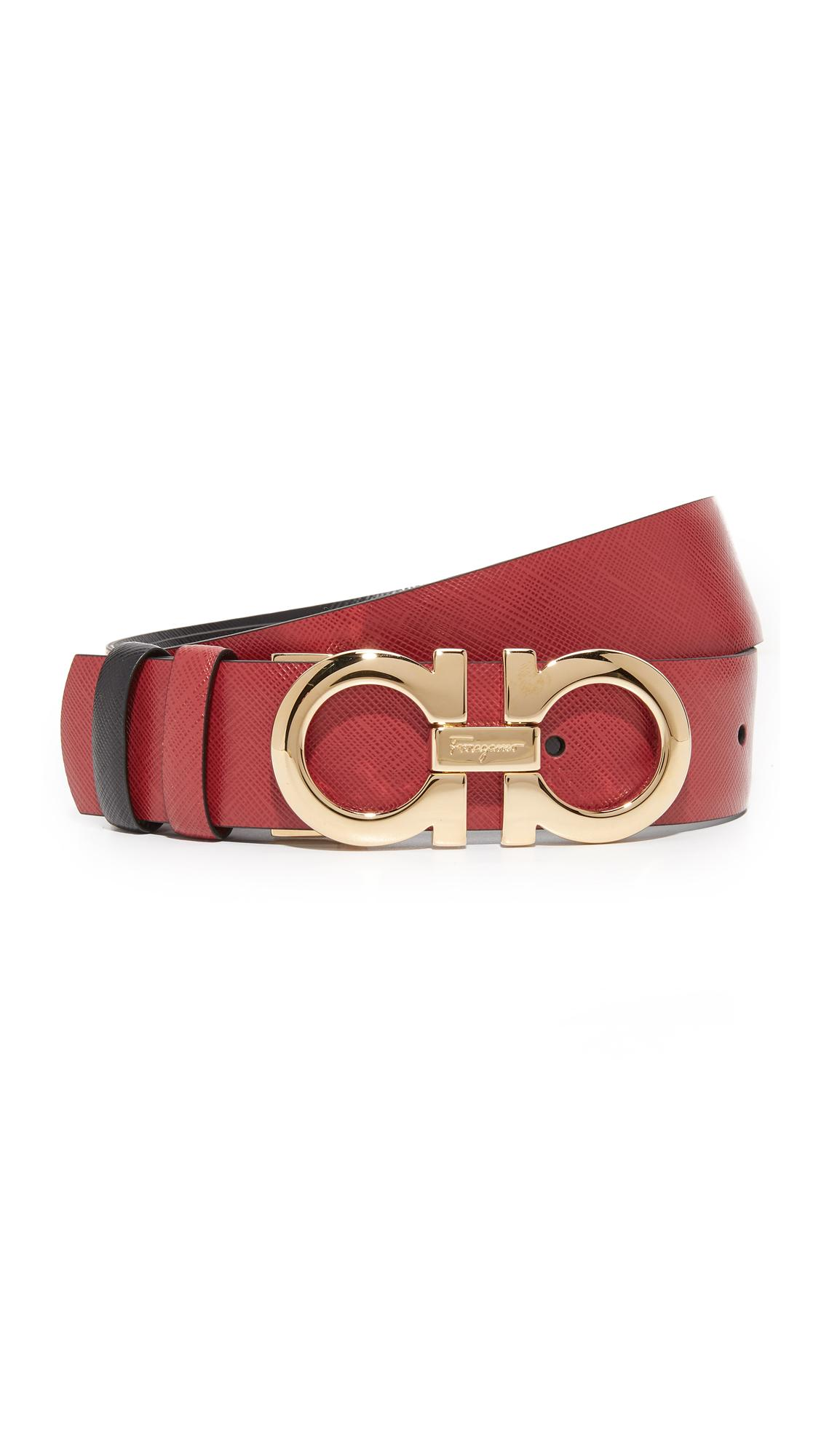 lyst ferragamo medium giancini reversible belt in red