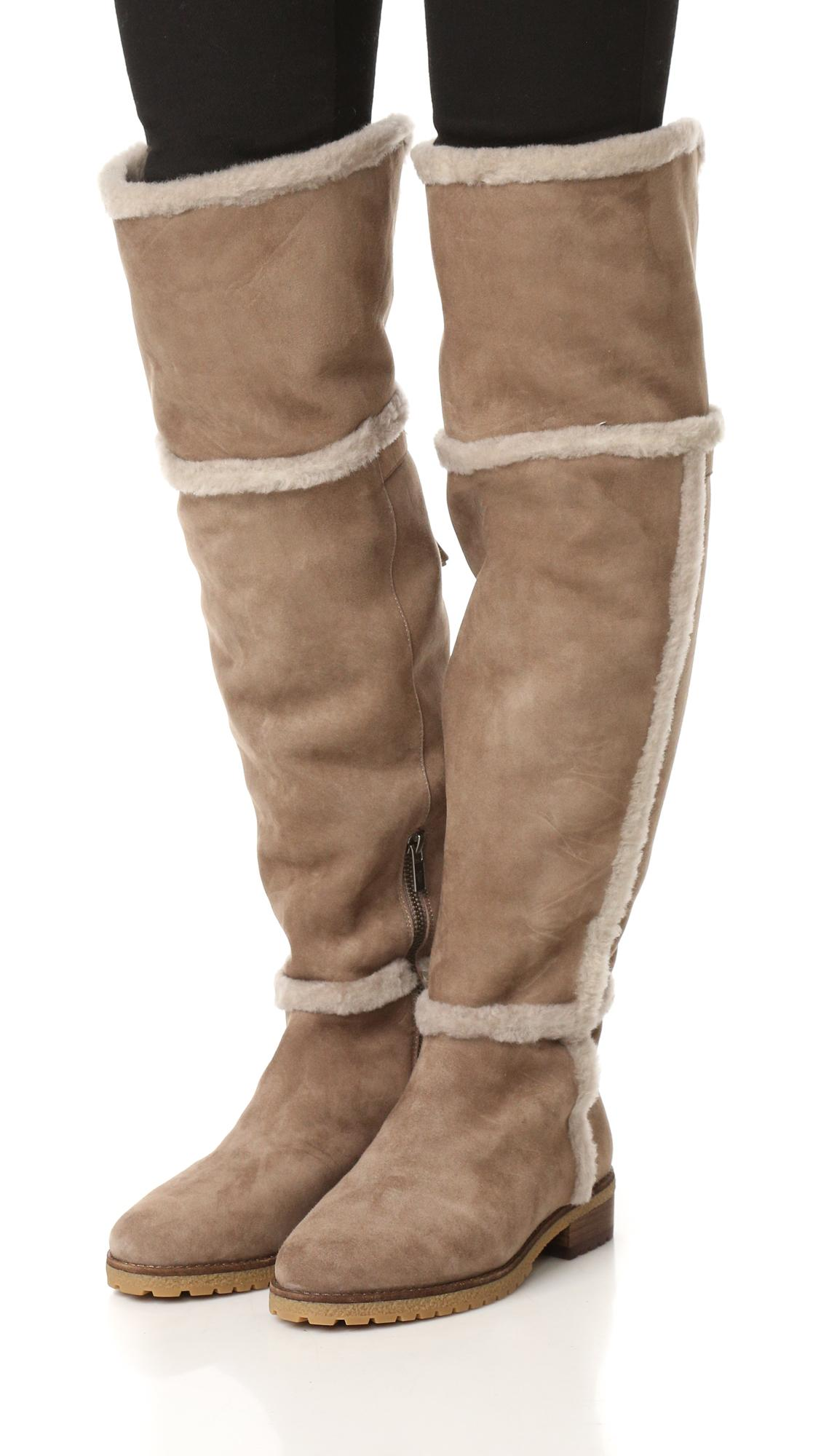 Lyst Frye Tamara Shearling Over The Knee Boots In Brown