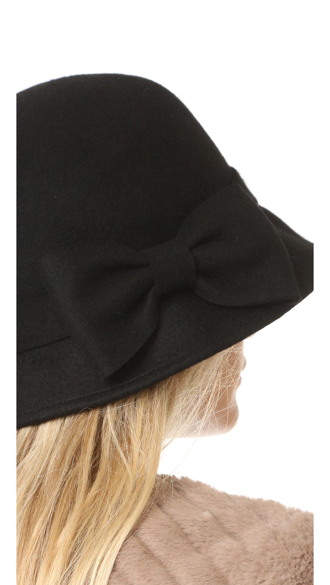 Lyst Kate Spade New York Flat Top Cloche Hat In Black